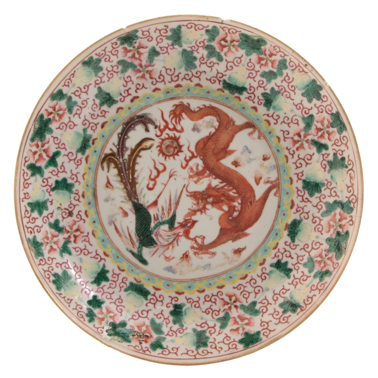 Chinese Polychrome Porcelain Plate with Dragon and Phoenix, Qing Dynasty