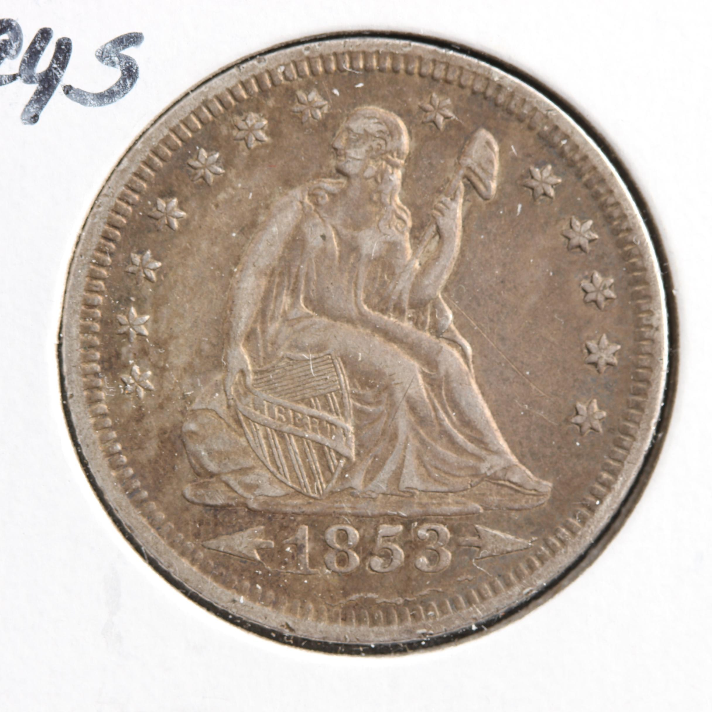 1853-O Liberty Seated Silver Quarter, With Arrows and Rays Variety