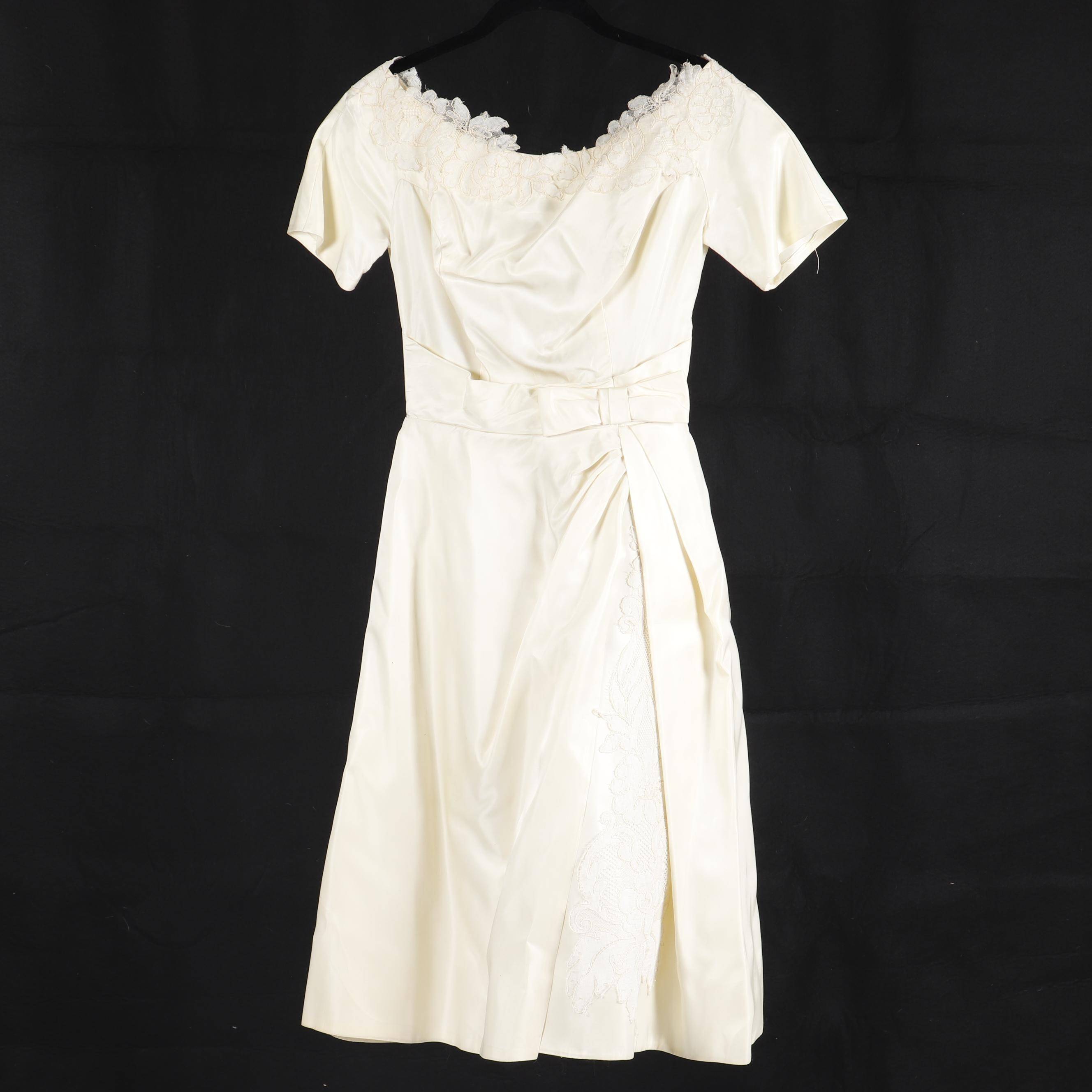 Vintage Off-White Handmade Satin Occasion Dress with Lace Appliqué