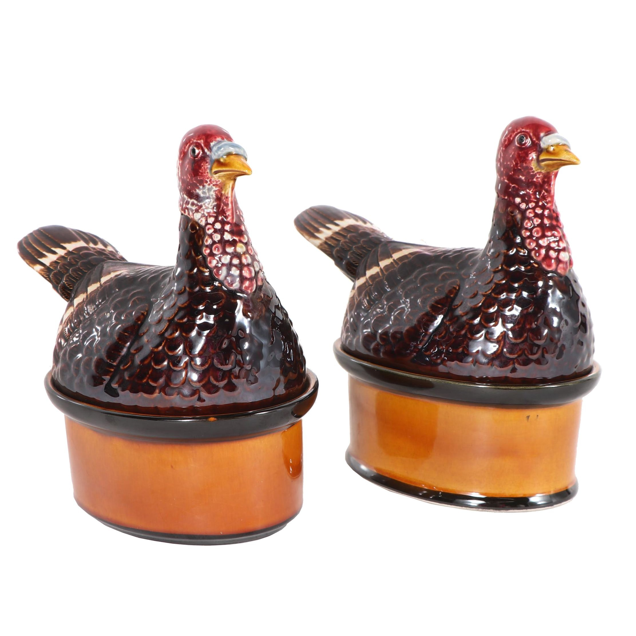 Secla Portuguese Ceramic Pheasant Covered Baking Dishes