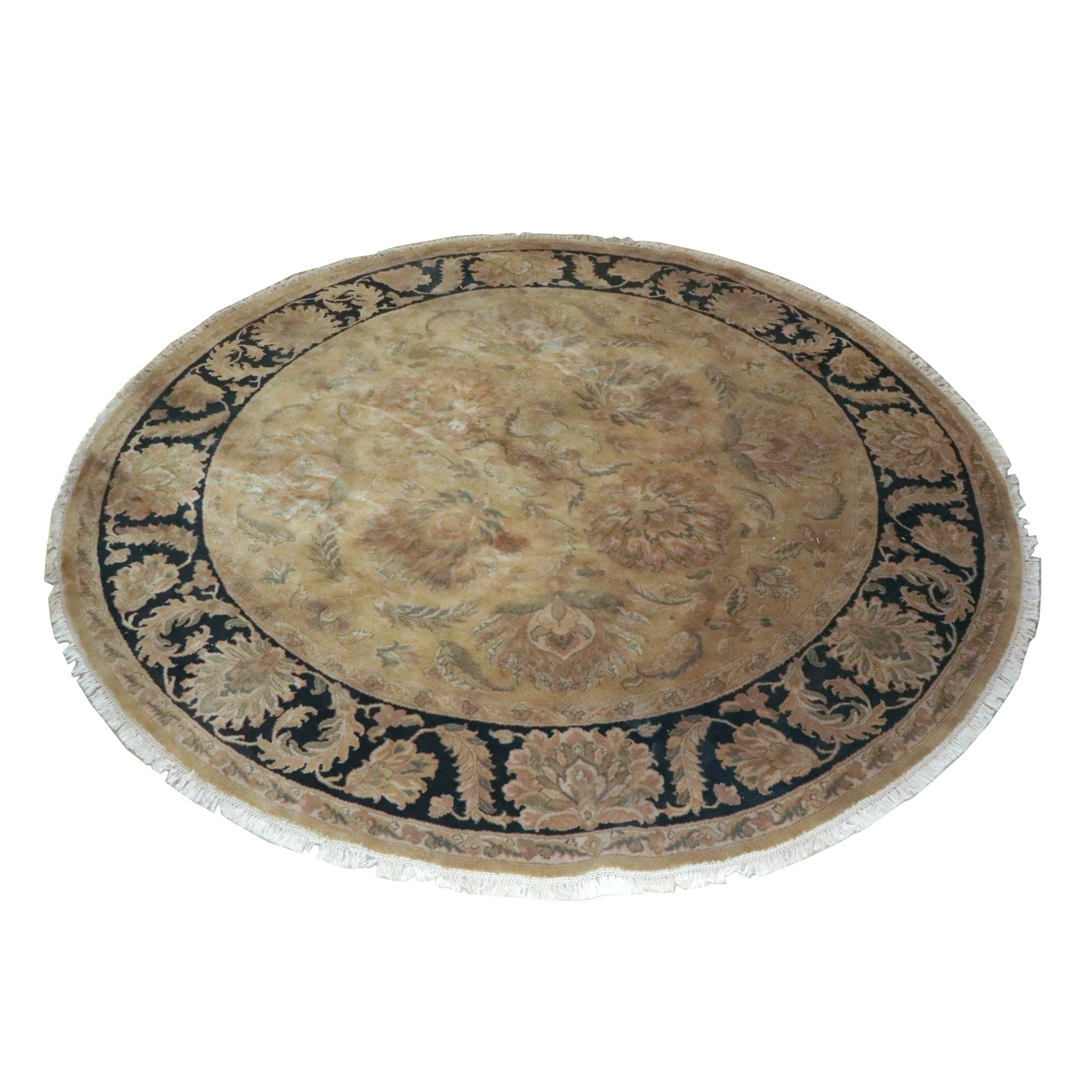 Hand-Knotted Indian Agra Style Round Wool Rug