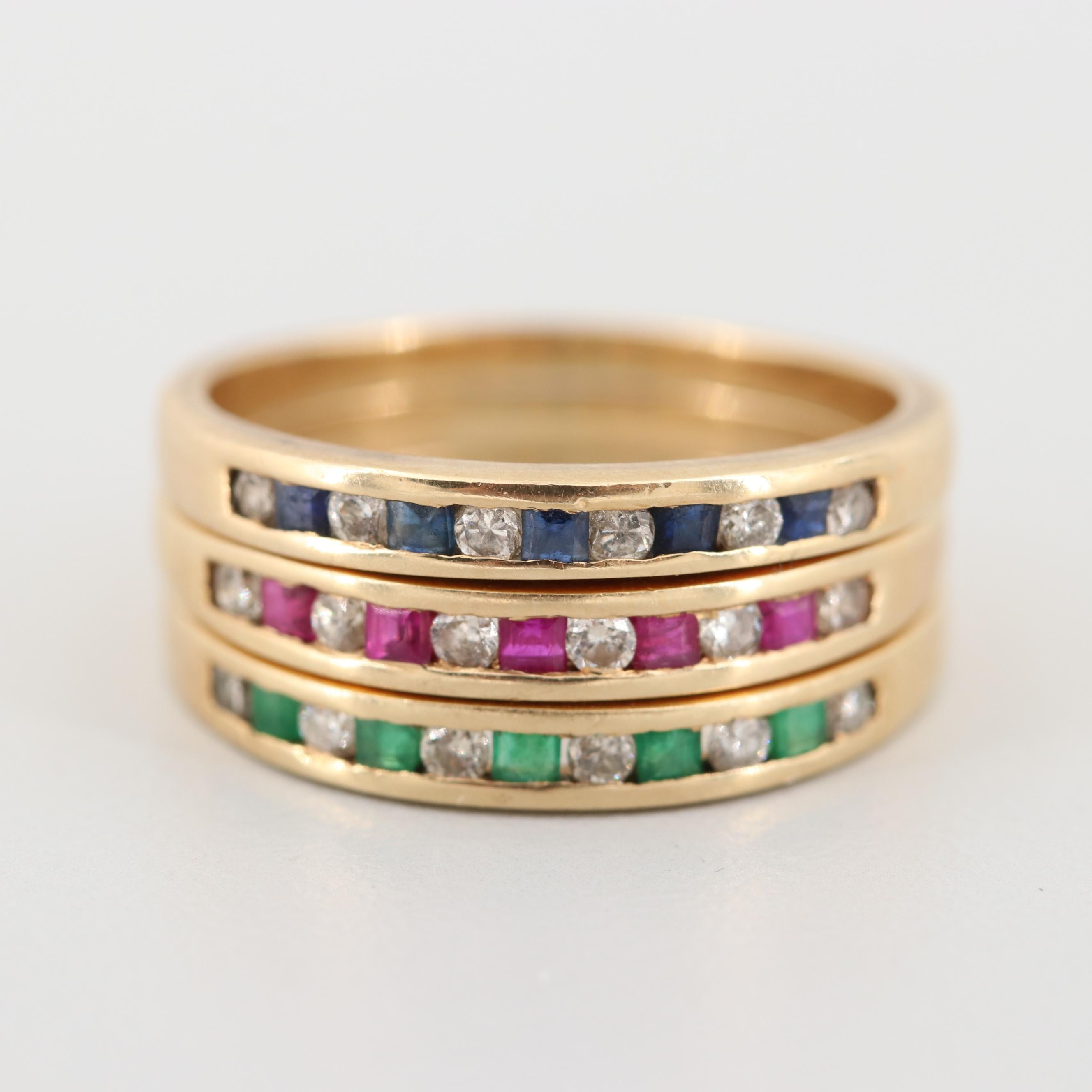 14K Yellow Gold Diamond, Emerald, Ruby, and Blue Sapphire Stacking Rings