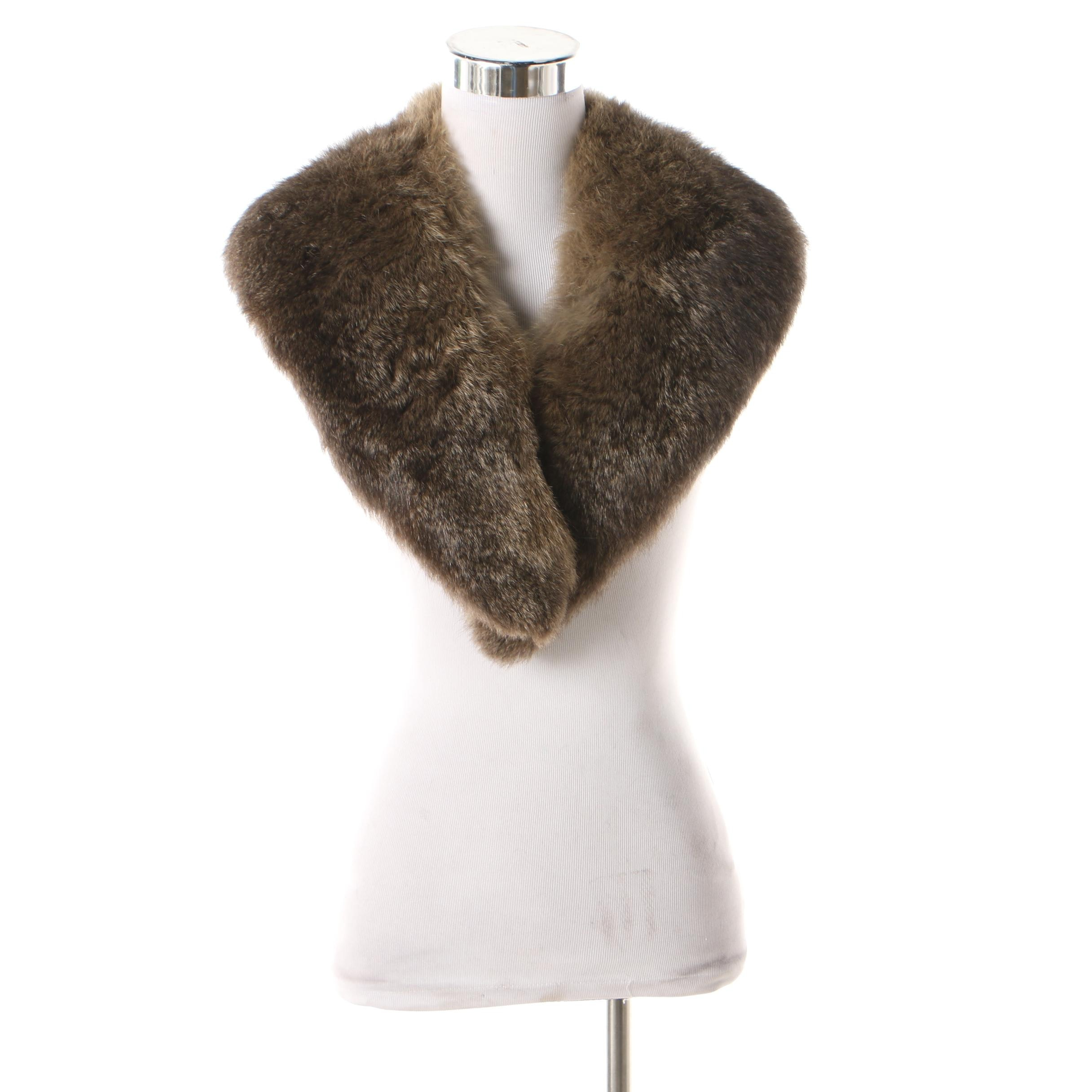 Muskrat Fur Cape Collar