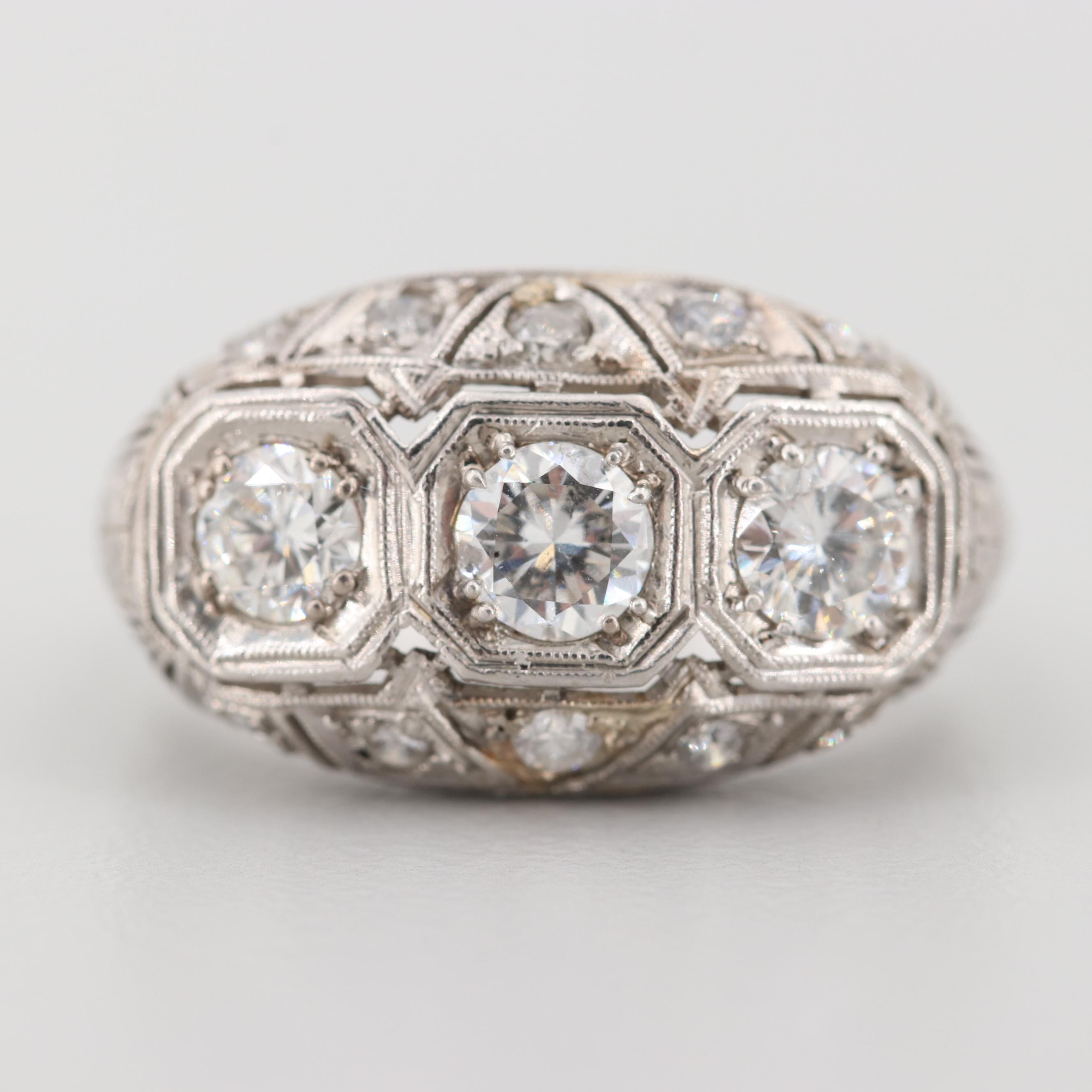 Vintage Platinum 1.22 CTW Diamond and Cubic Zirconia Ring