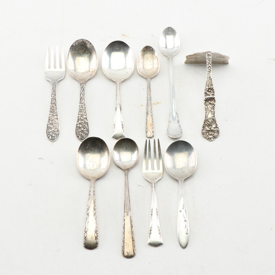 Sterling Silver Baby Flatware with Sterling Food Pusher