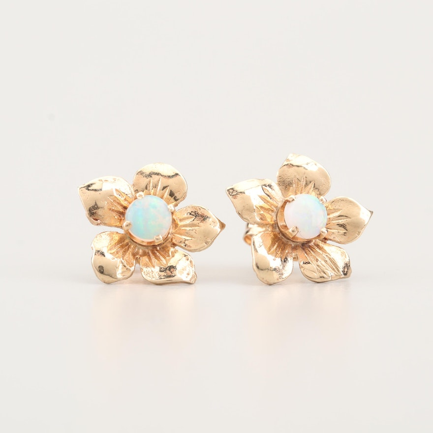 a92653e23 14K Yellow Gold and Opal Flower Stud Earrings   EBTH