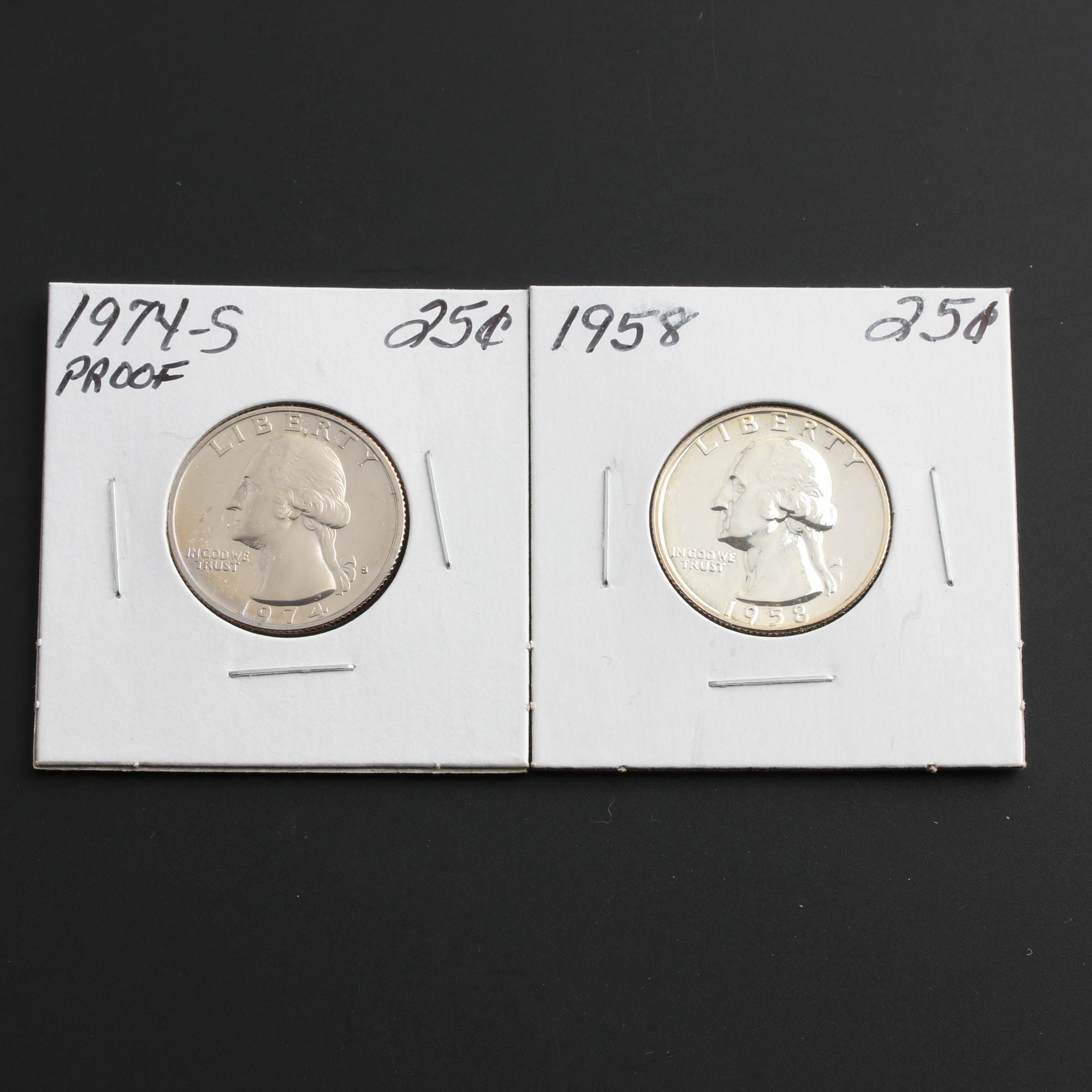Two Proof Washington Quarters, One Silver