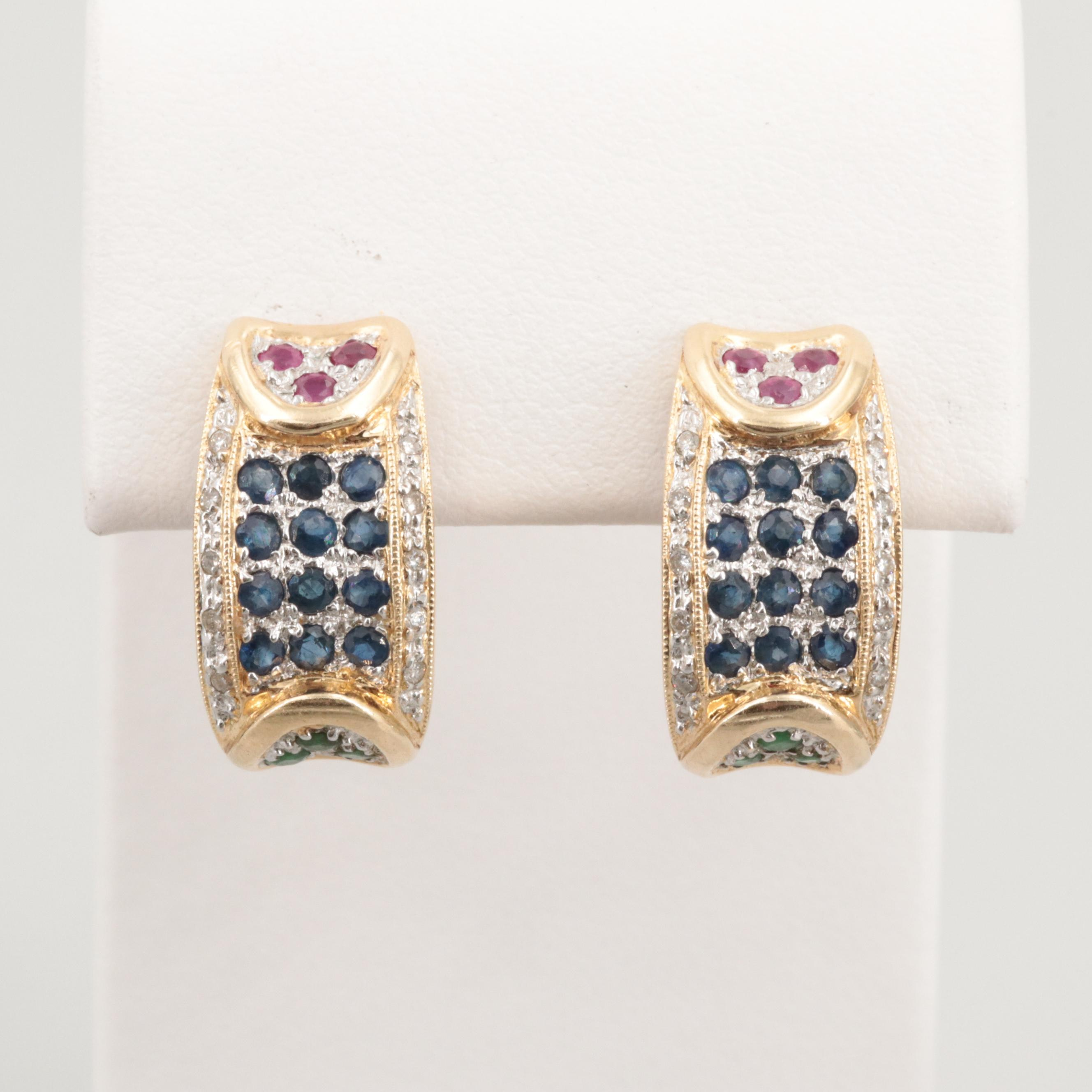 14K Yellow Gold Blue Sapphire, Ruby, Emerald and Diamond Earrings