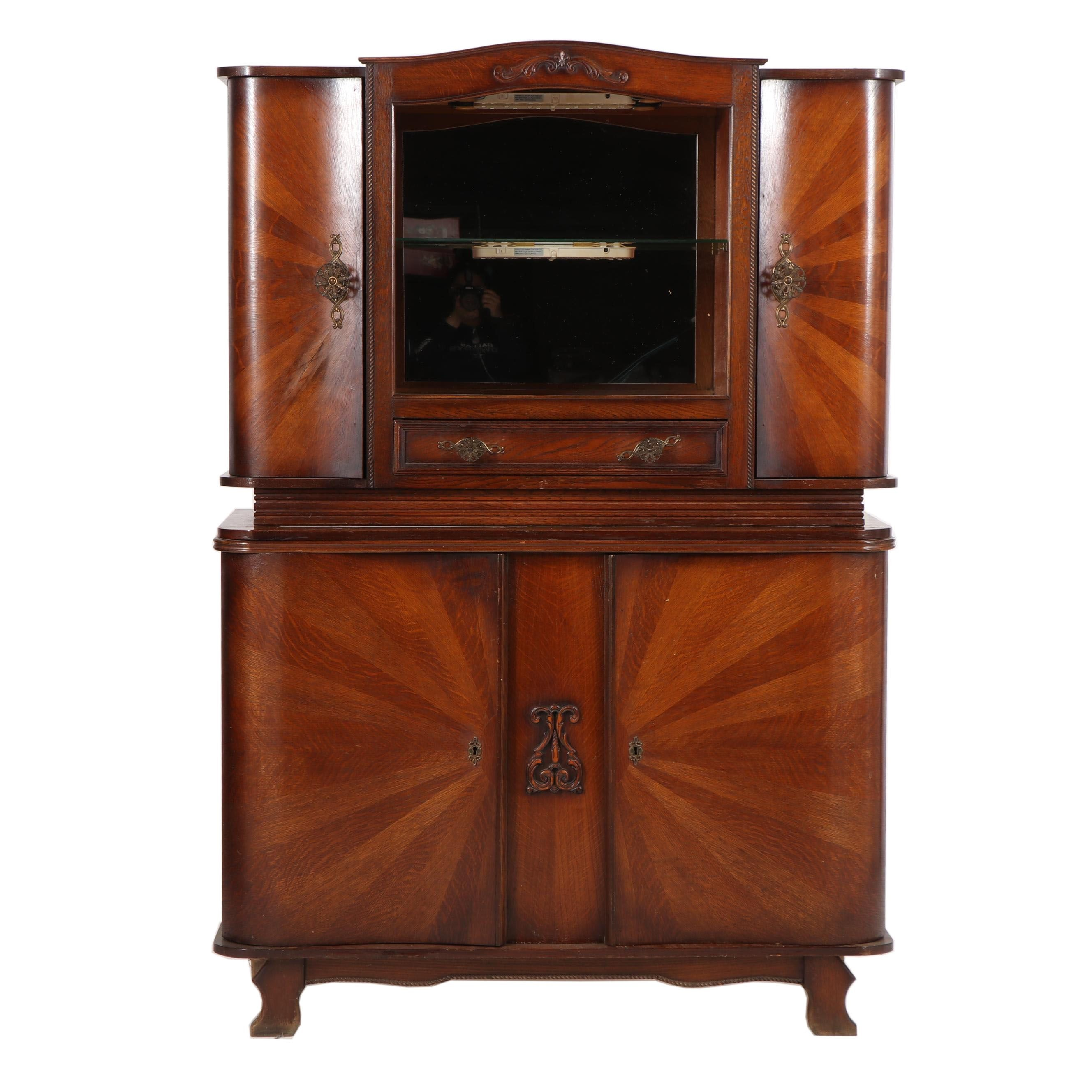 Late Victorian Style Oak Starburst Veneer China Cabinet with Mirror, 20th Cent.