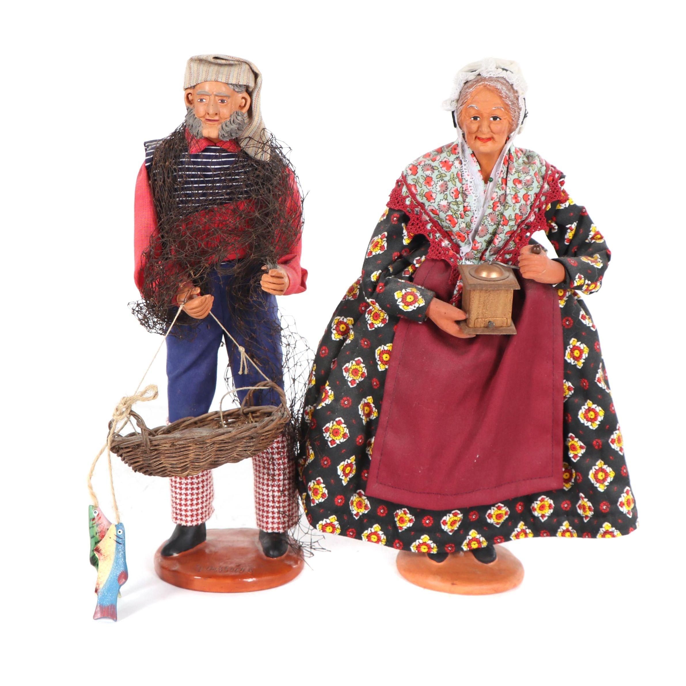 Santons de Provence Signed Terracotta Dolls, Mid-Century
