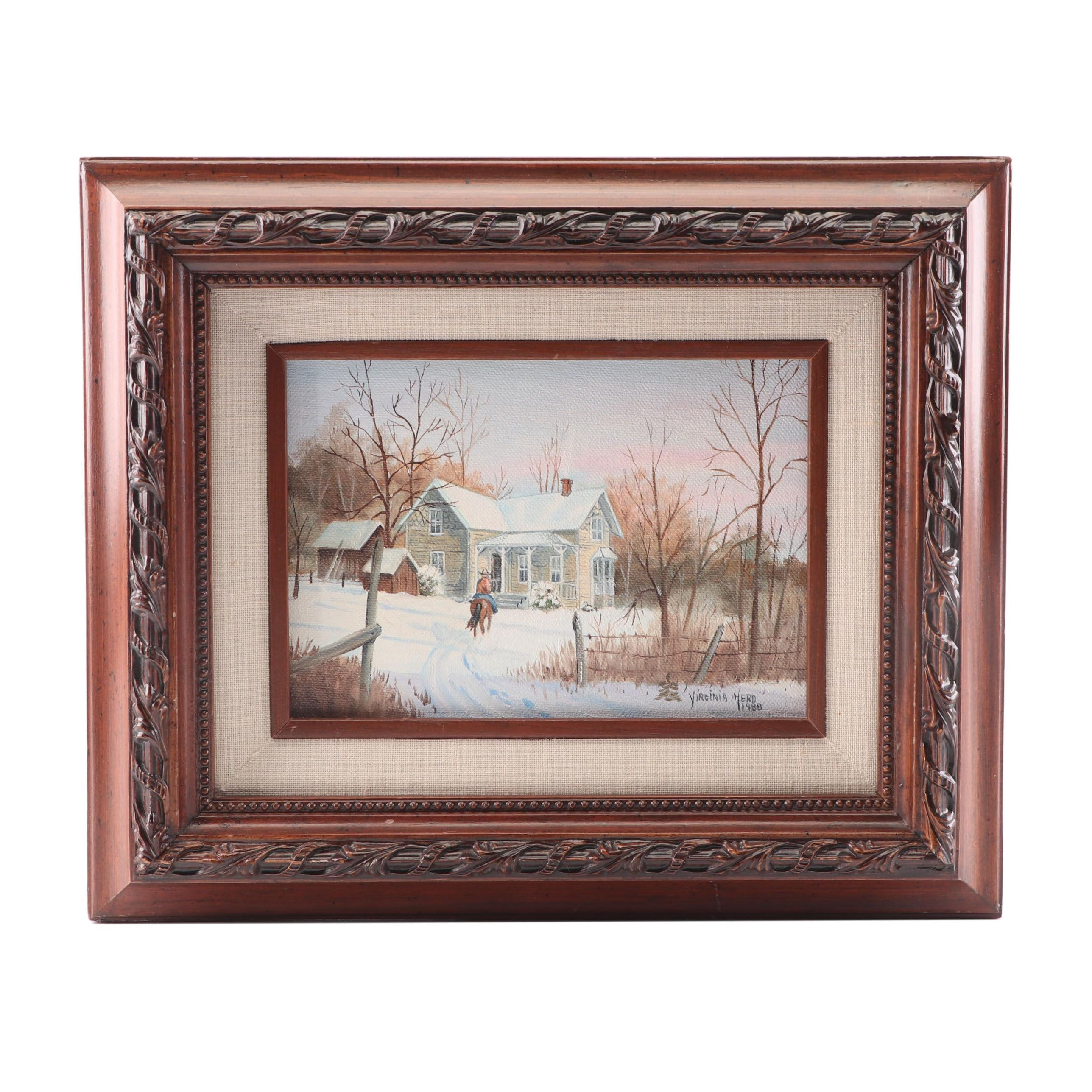 Virginia Herd Winter Landscape Oil Painting