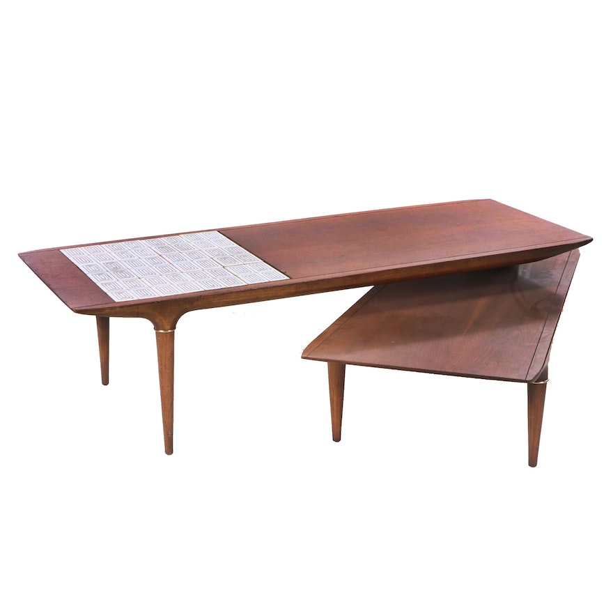 "Lane Boomerang Coffee Table: Mid Century Modern Tile Accented Cherry ""Jackknife"" Coffee"