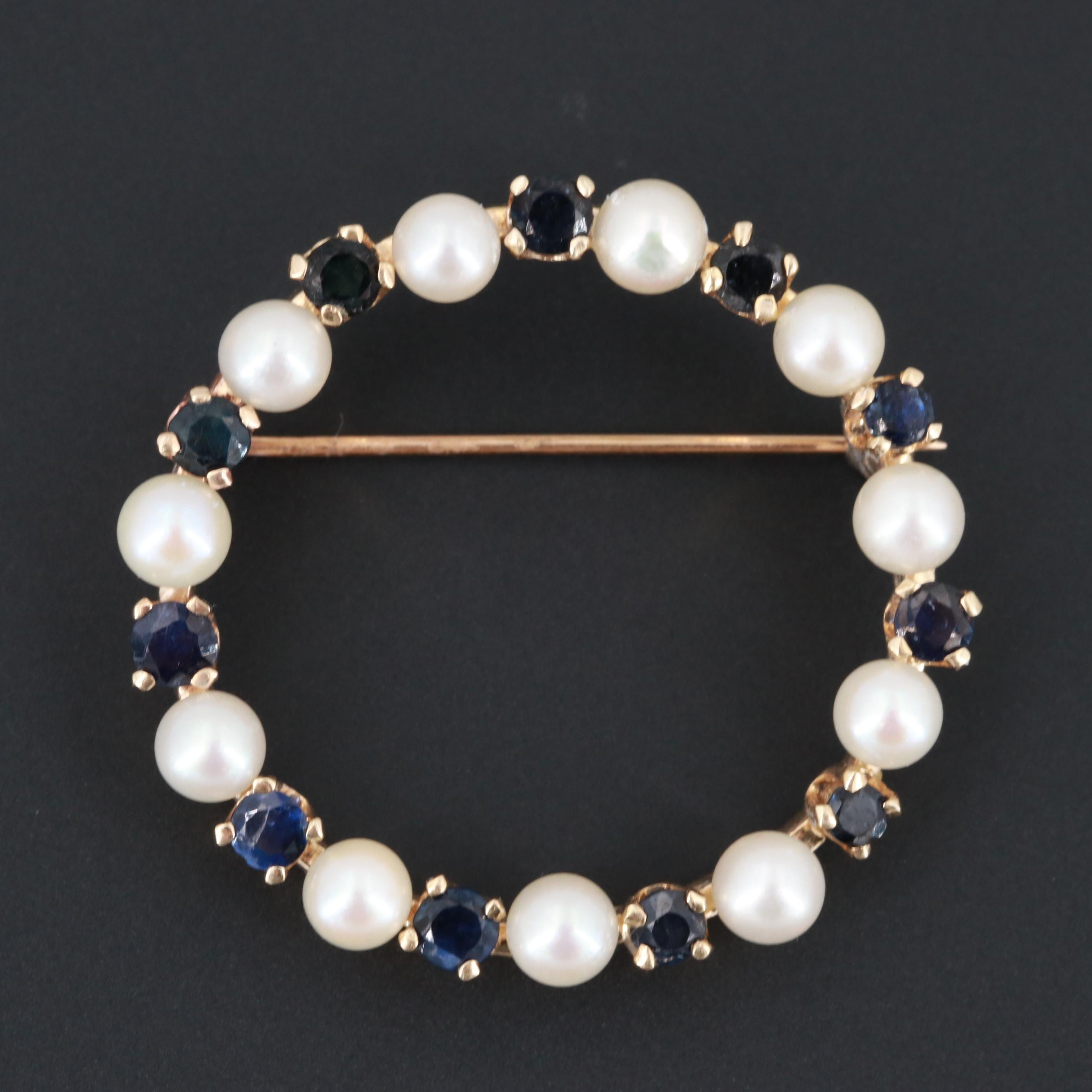 14K Yellow Gold Blue Sapphire and Cultured Pearls Brooch