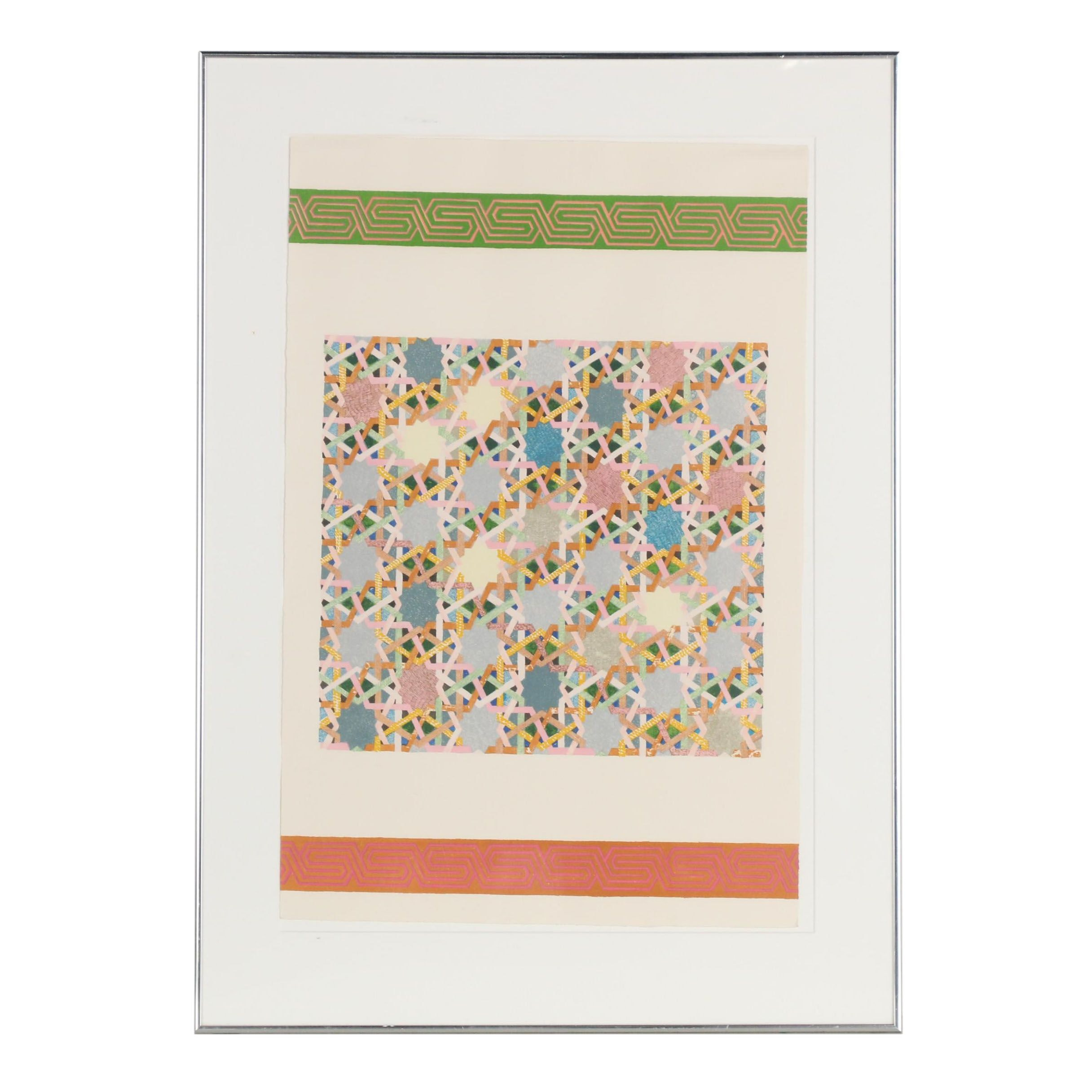 """Joyce Kozloff 1977 Lithograph """"Pictures and Borders I"""""""