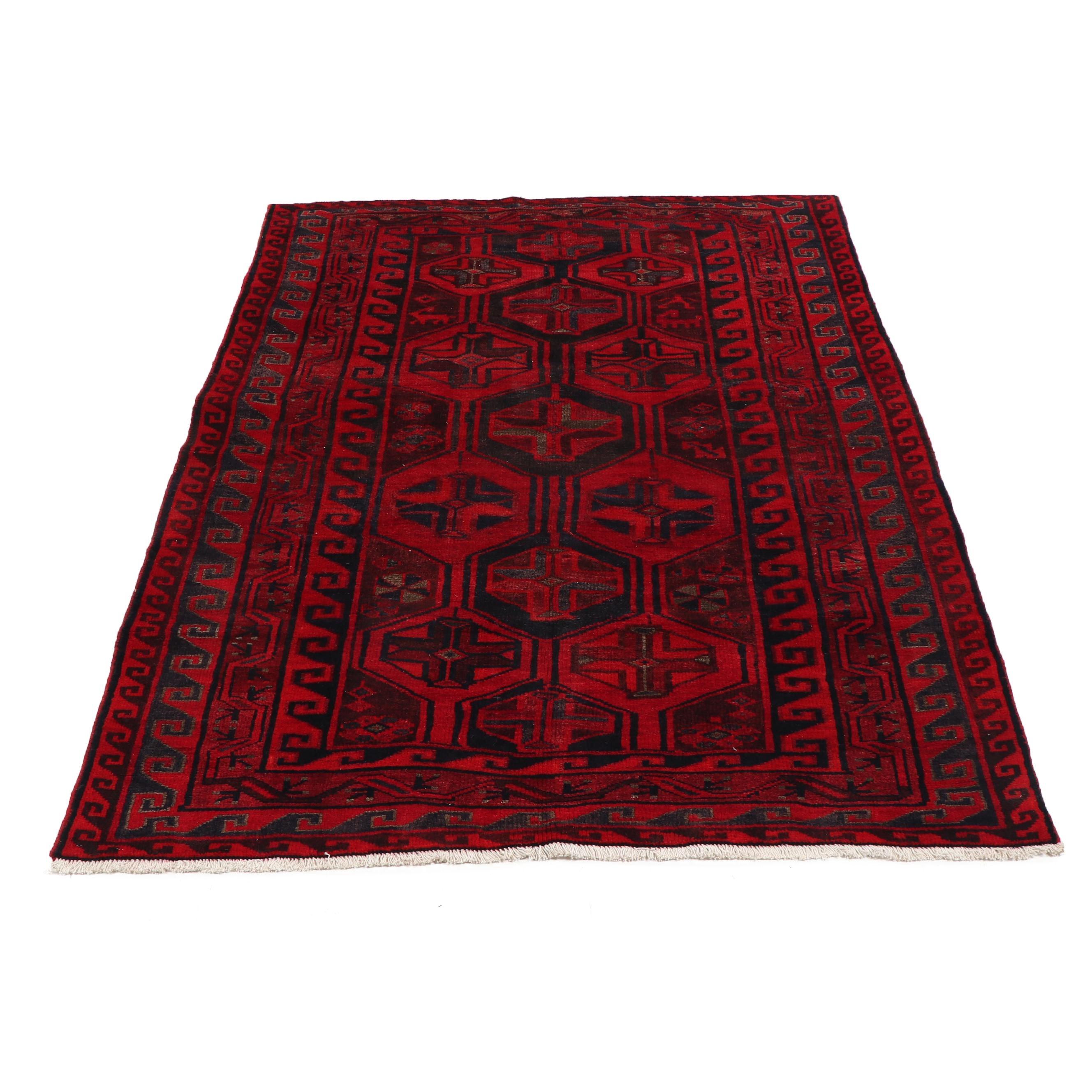 Hand-Knotted Caucasian Kazak Wool Rug
