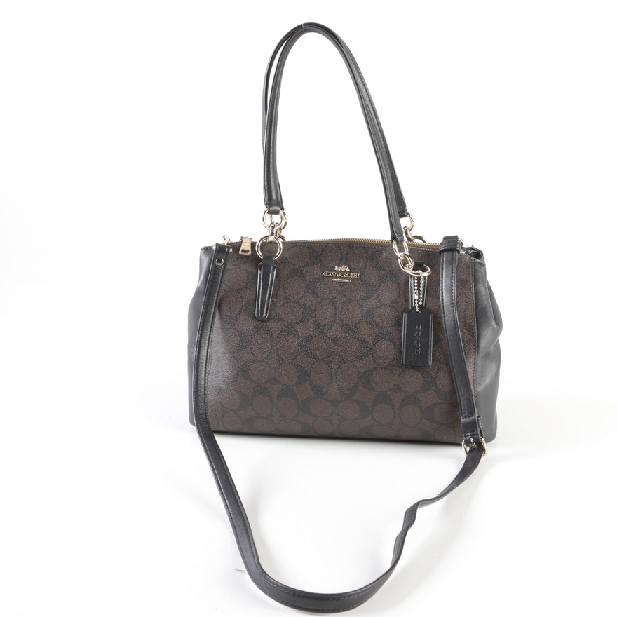 b6bb3e32774f Coach Signature Small Christie Coated Canvas and Leather Carryall in  Brown Black   EBTH