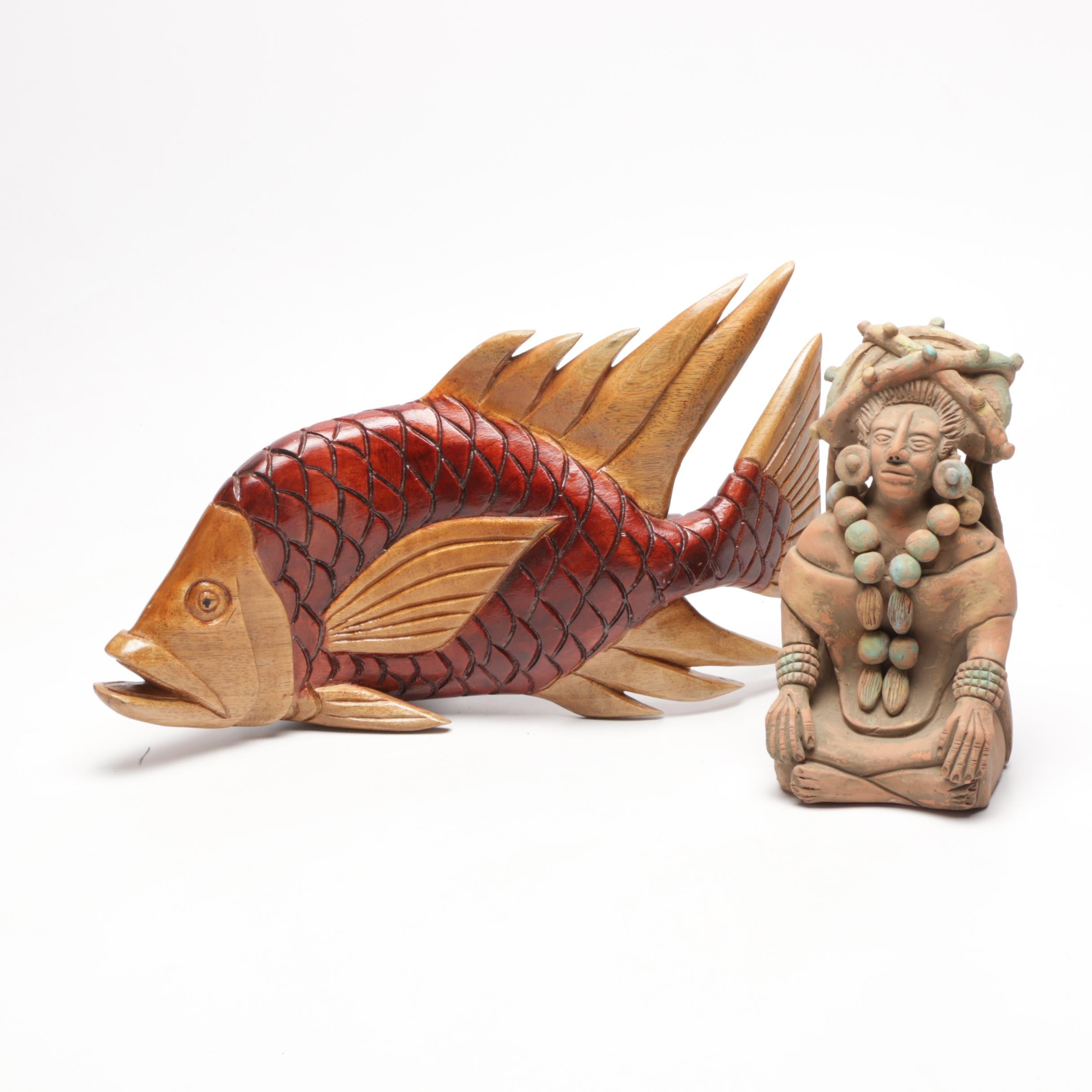 Jamaican Carved Wooden Fish and Ceramic Aztec Figurine