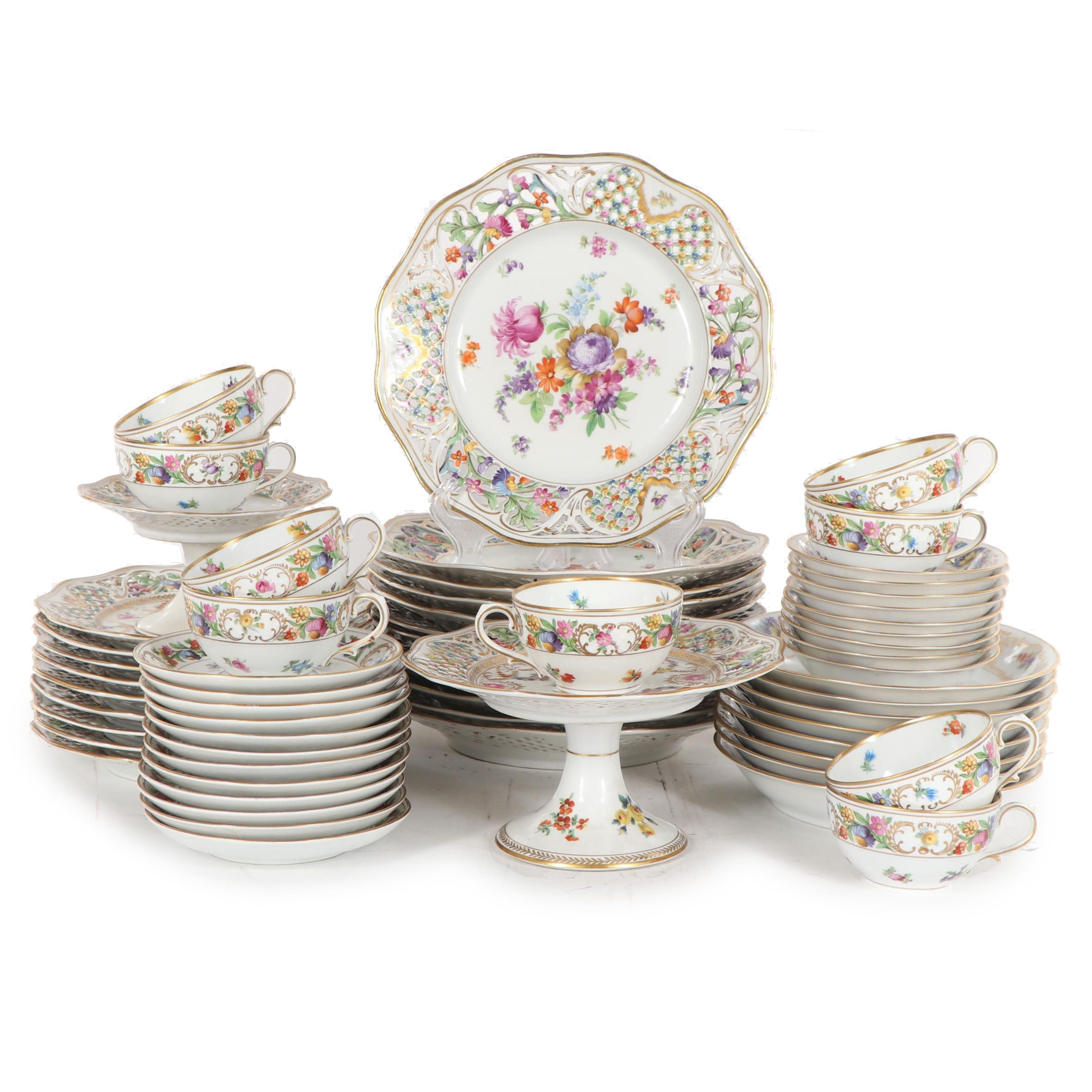 Floral Reticulated Porcelain Dinnerware featuring Schumann-Bavaria, Mid-Century