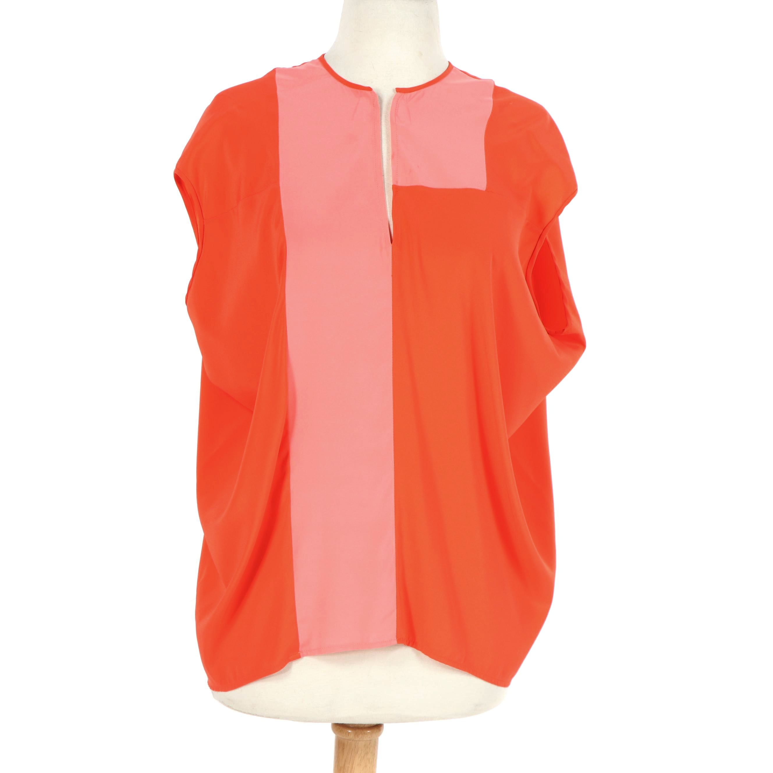 Women's Zero + Maria Cornejo Orange and Pink Silk Charmeuse Blouse, Made in NY