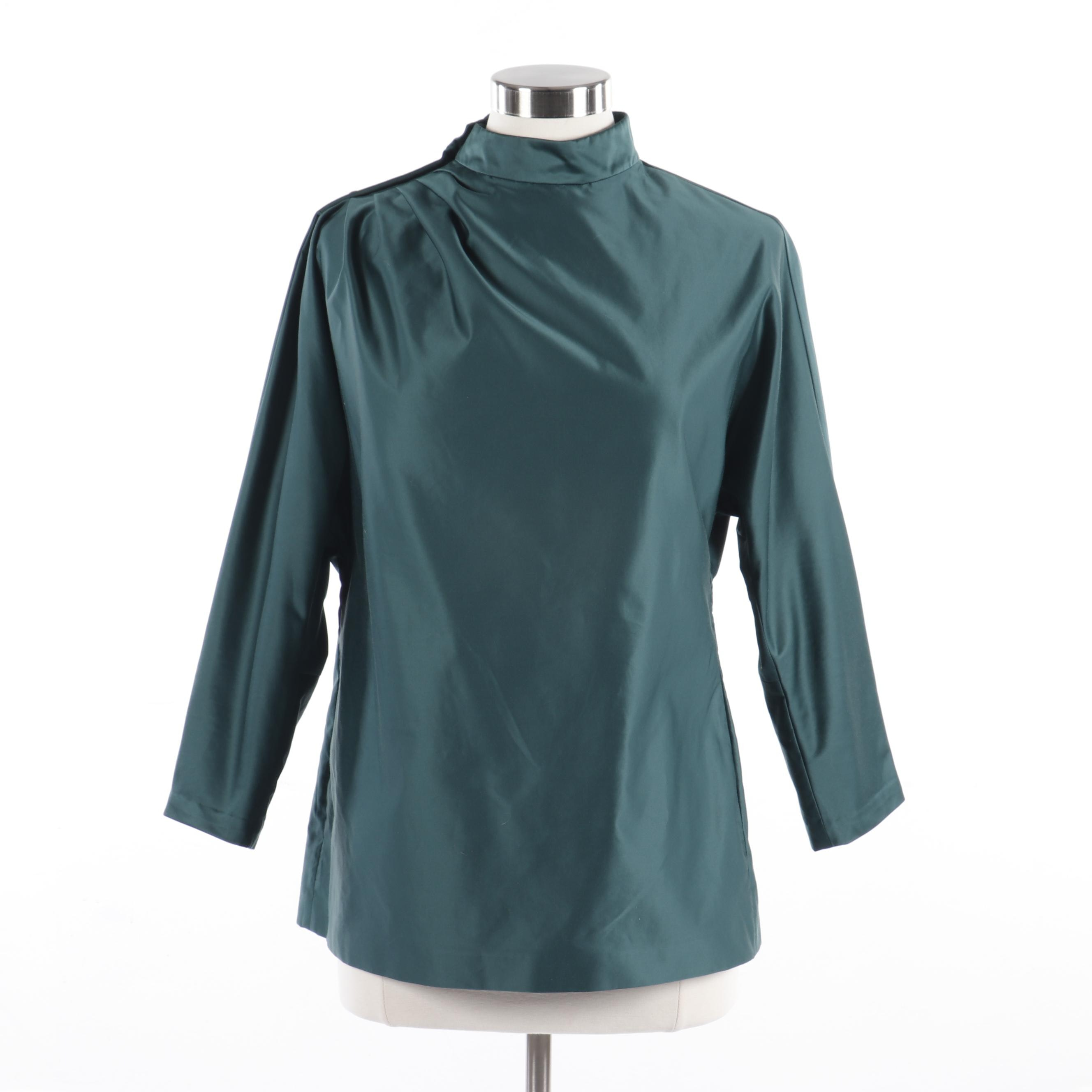 Yves Saint Laurent Dark Green Blouse from the 2010 Fall Collection