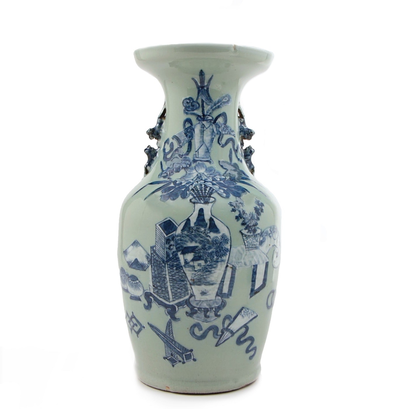 "Chinese Celadon Vase with ""Hundred Antiques"" Motif, 19th Century"