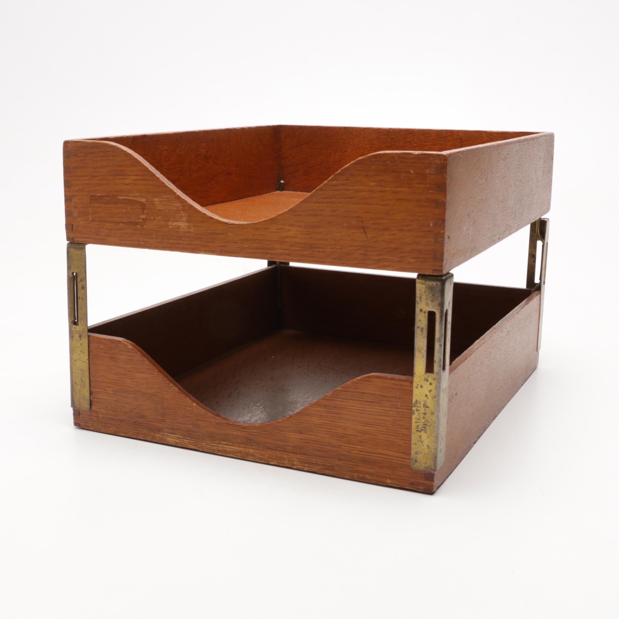 Globe-Wernicke Oak Desktop File Box, c. 1920s-30s