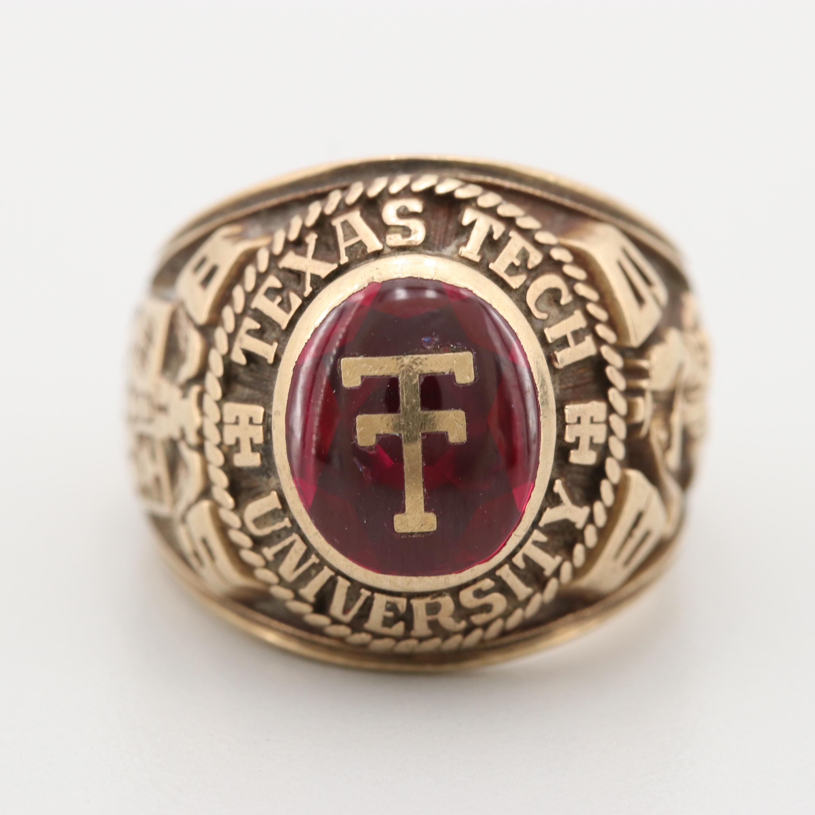 10K Yellow Gold Synthetic Ruby Texas Tech University Class Ring
