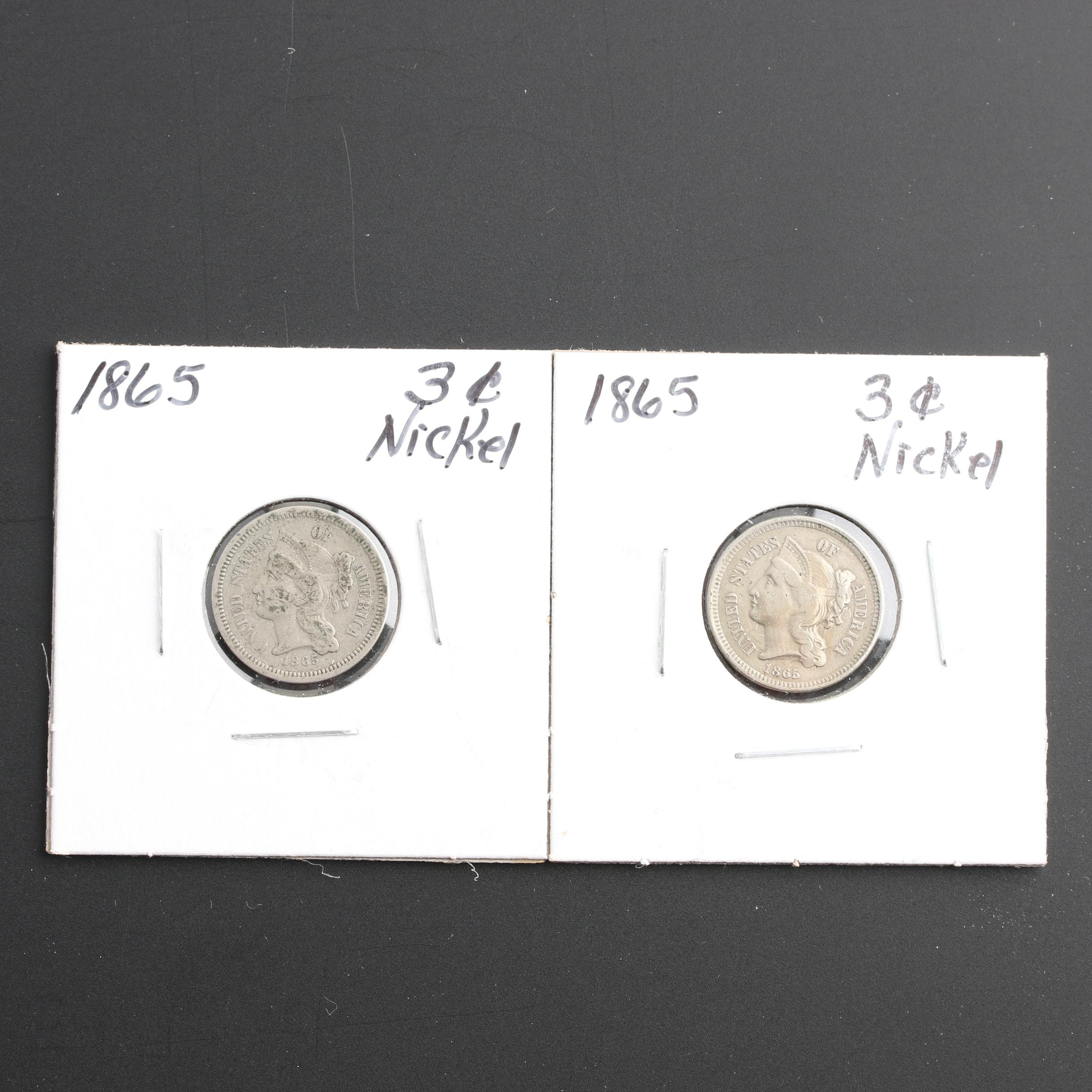 Two 1865 Liberty Head 3-Cent Nickel Coins