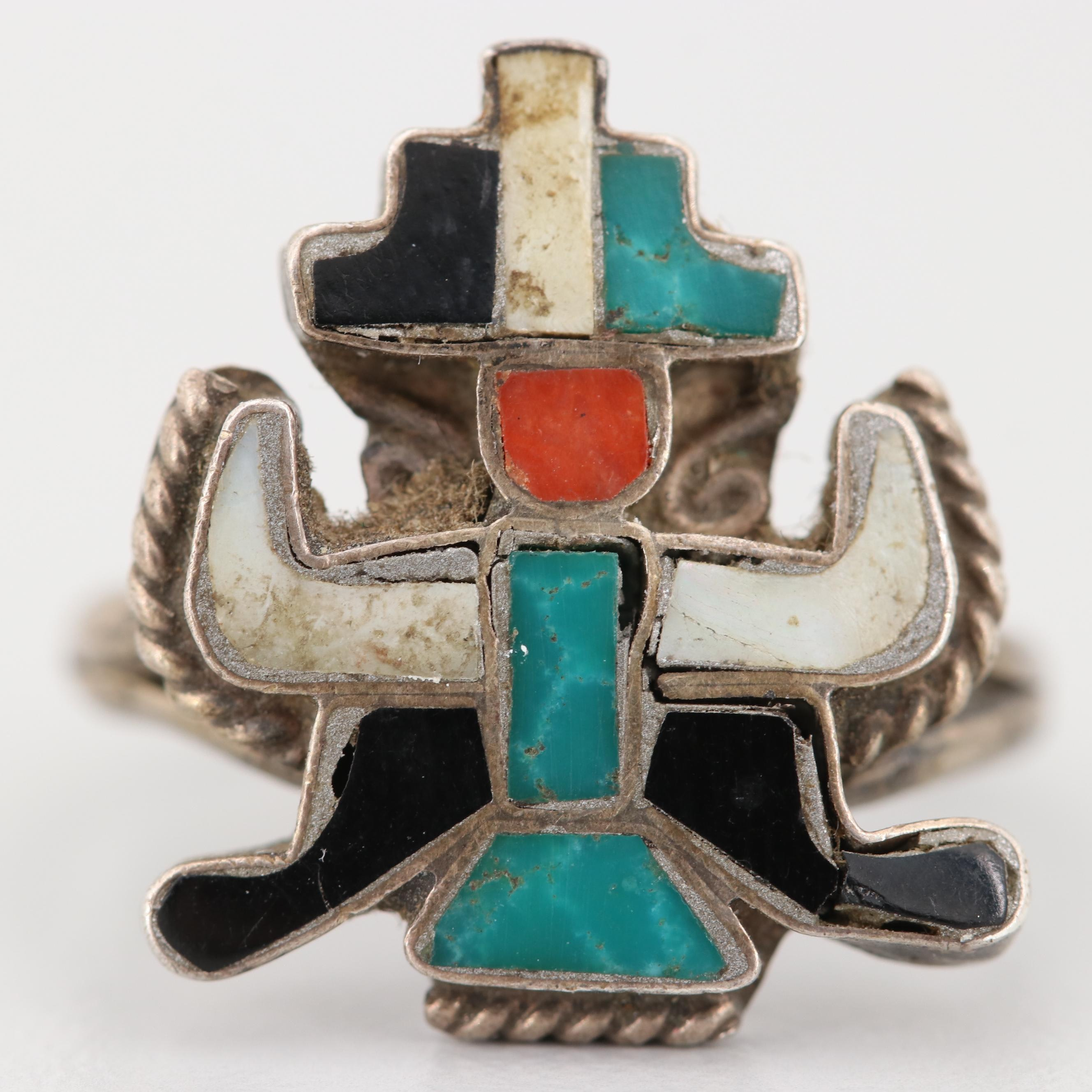Sterling Silver Turquoise, Mother of Pearl, and Coral Knifewing Motif Ring
