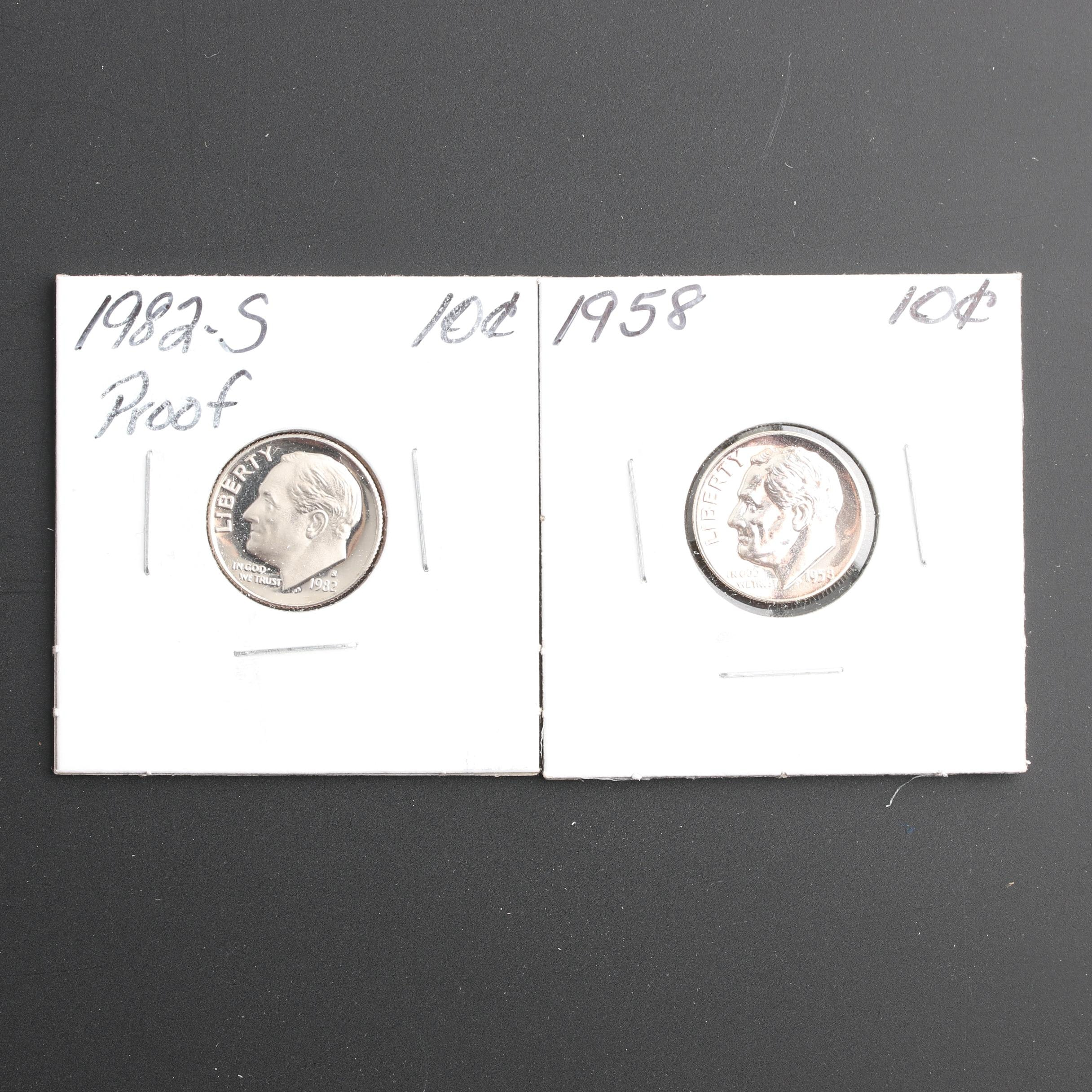 Two Proof Roosevelt Dimes, One Silver