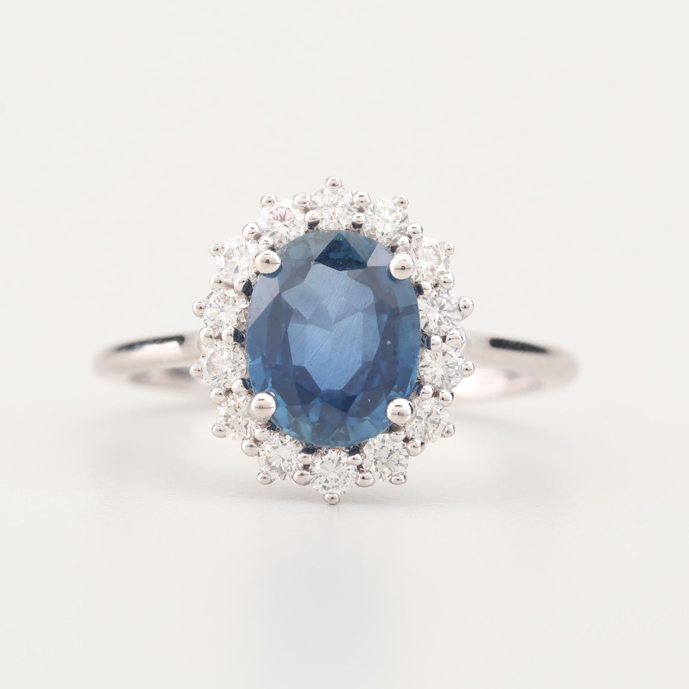14K White Gold 2.26 CT Sapphire and Diamond Ring with GIA Report