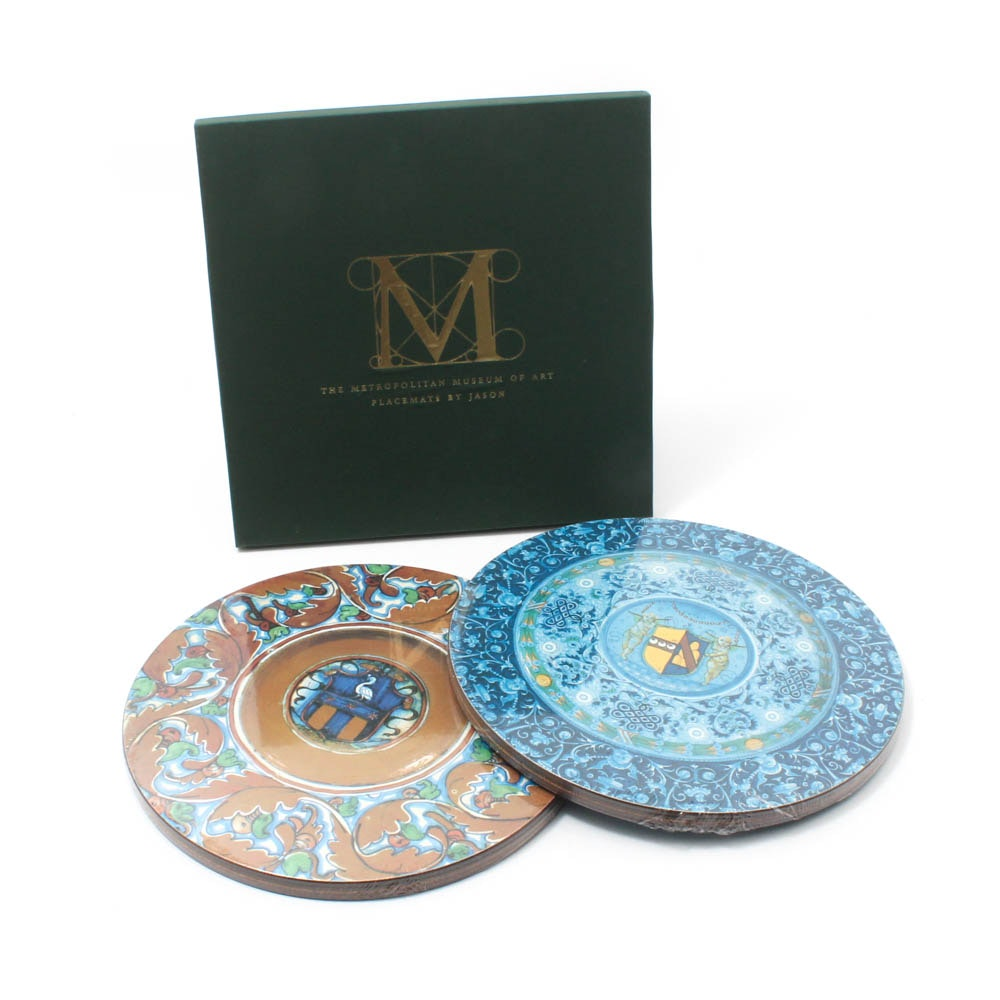 """Metropolitan Museum of Art """"Blue"""" and """"Gold Majolica"""" Placemats by Jason"""
