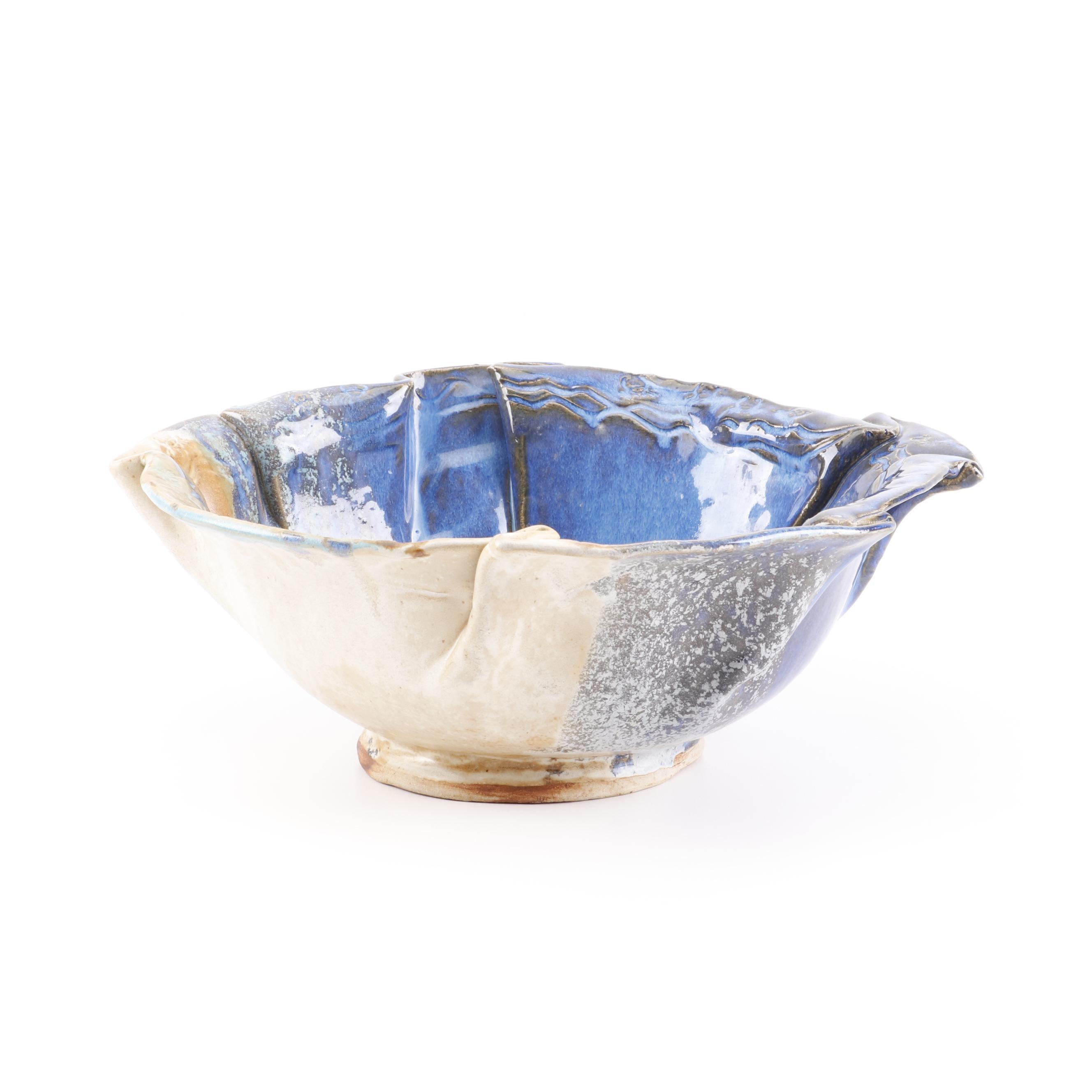 Jason Stokes Holley Hill Pottery Handbuilt Folded Stoneware Serving Bowl, 1999