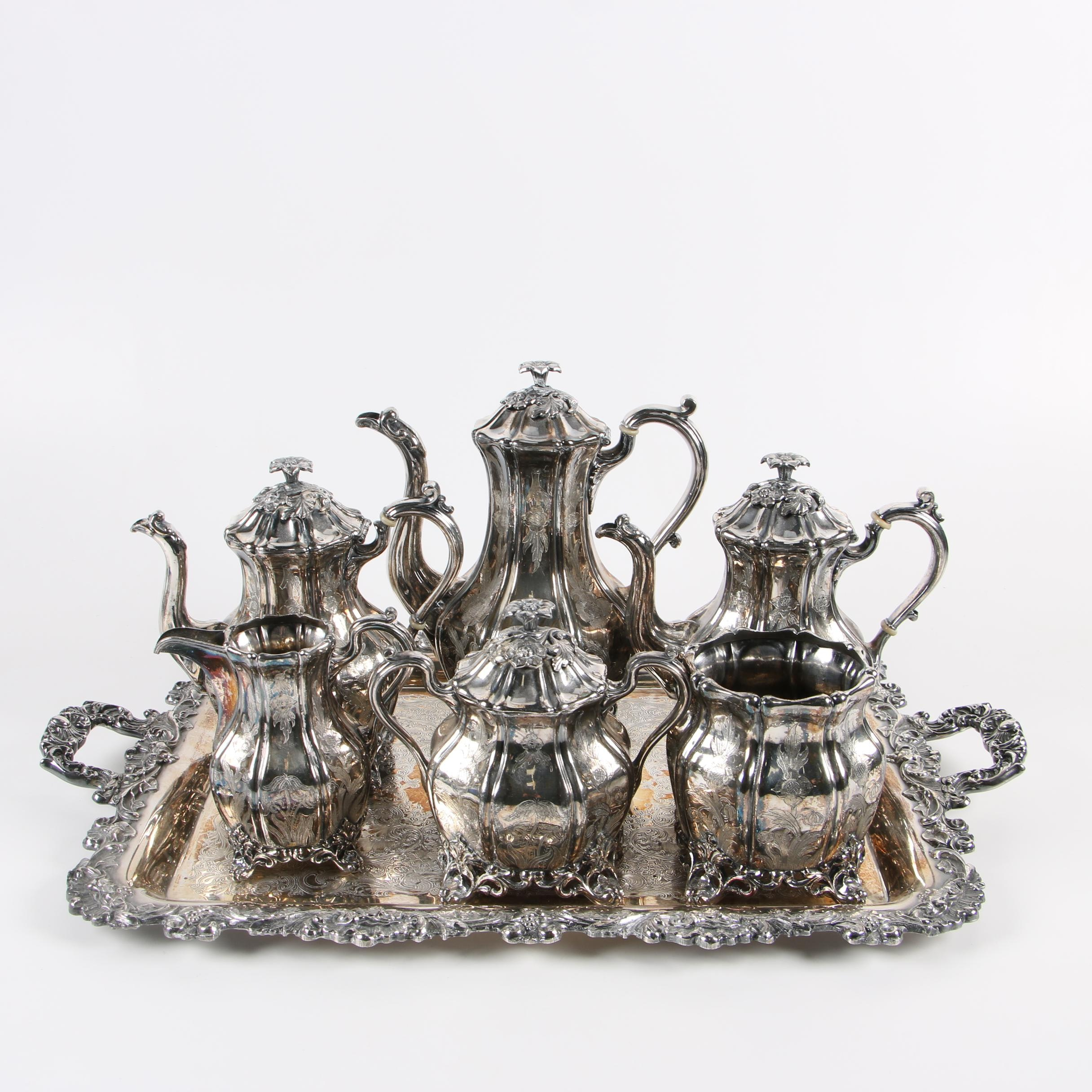 Reed & Barton Silver Plate Tea and Coffee Service with Tray, Mid-Century