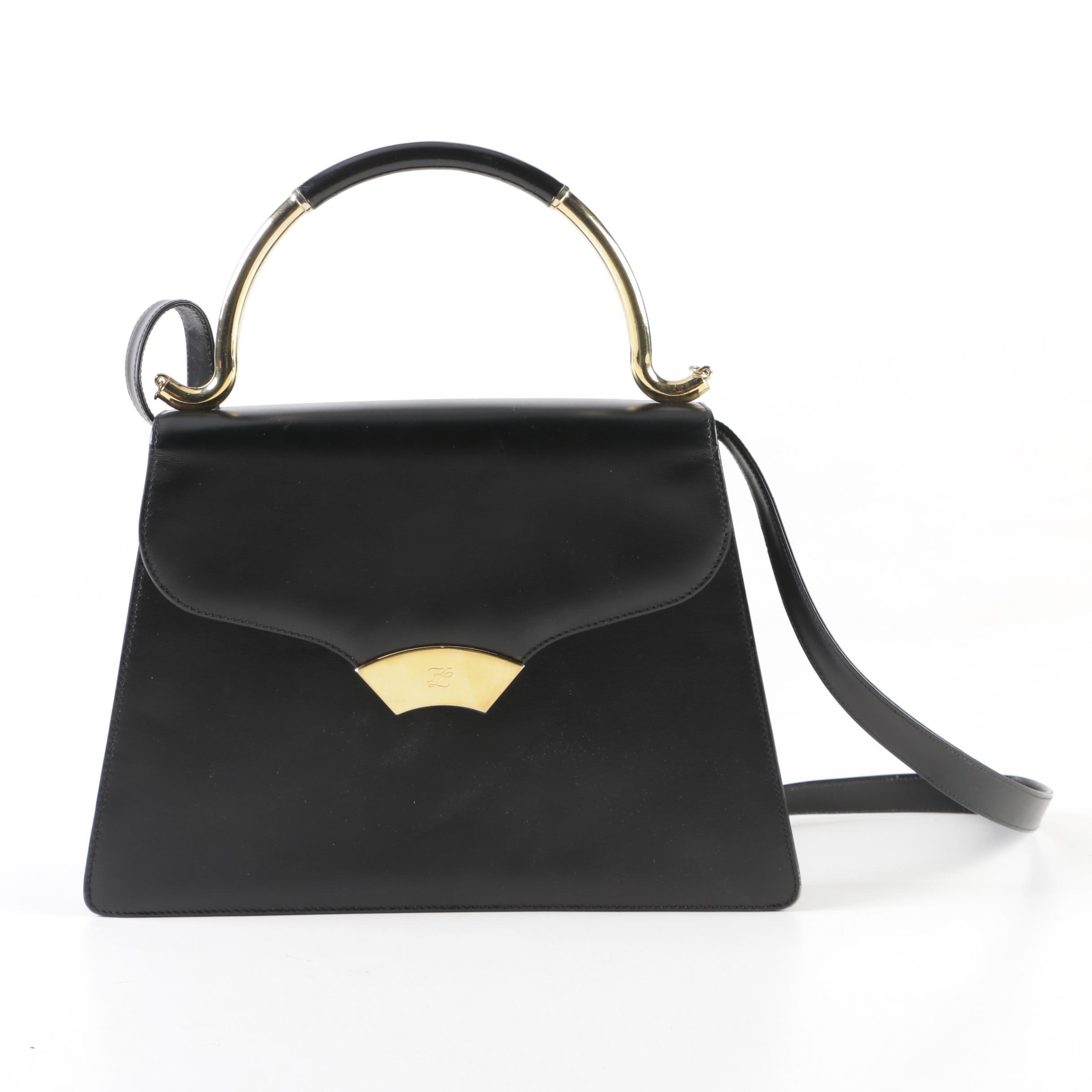 Karl Lagerfeld of Paris Black Leather Top Handle Handbag with Shoulder Strap