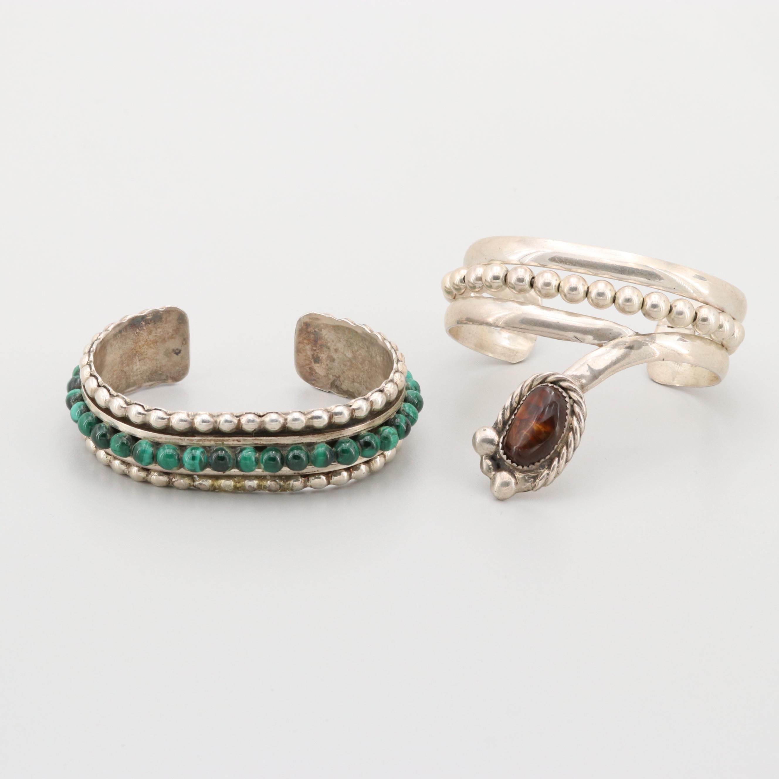 Bill Kirkham Sterling Silver Malachite and Fire Agate Cuff Bracelets