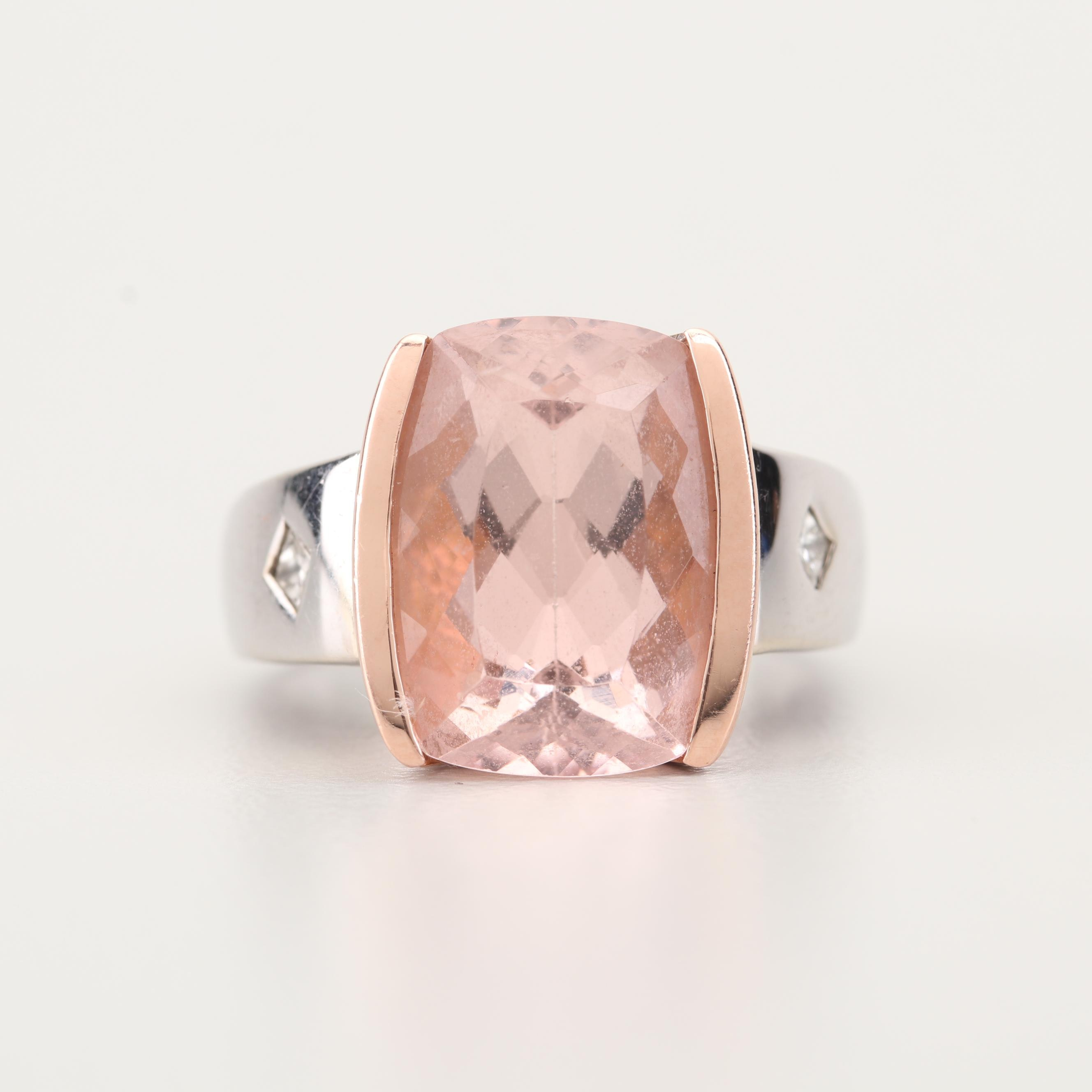 14K Two-Tone Gold 7.50 CT Morganite and Diamond Ring