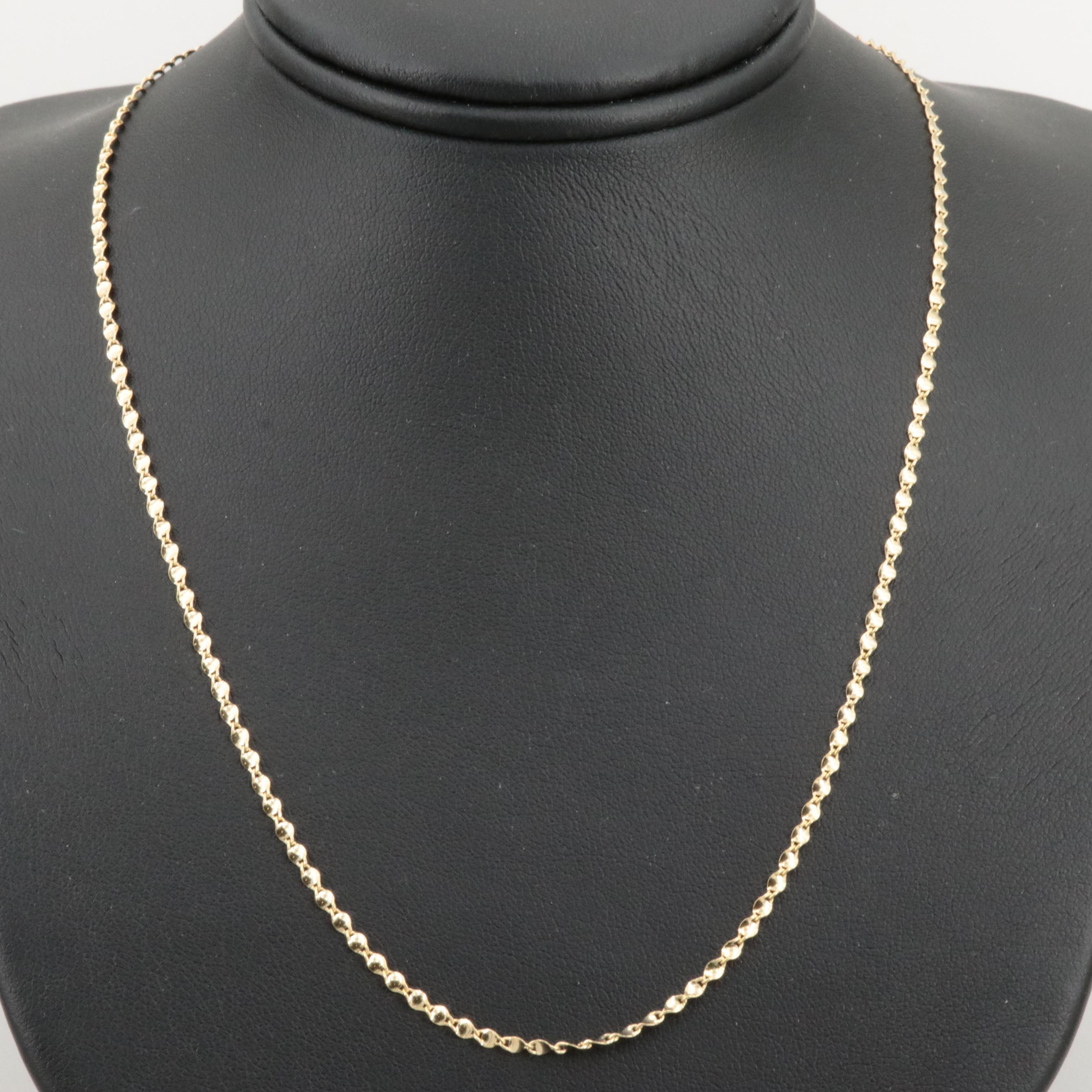 10K Yellow Gold Fancy Link Chain Necklace