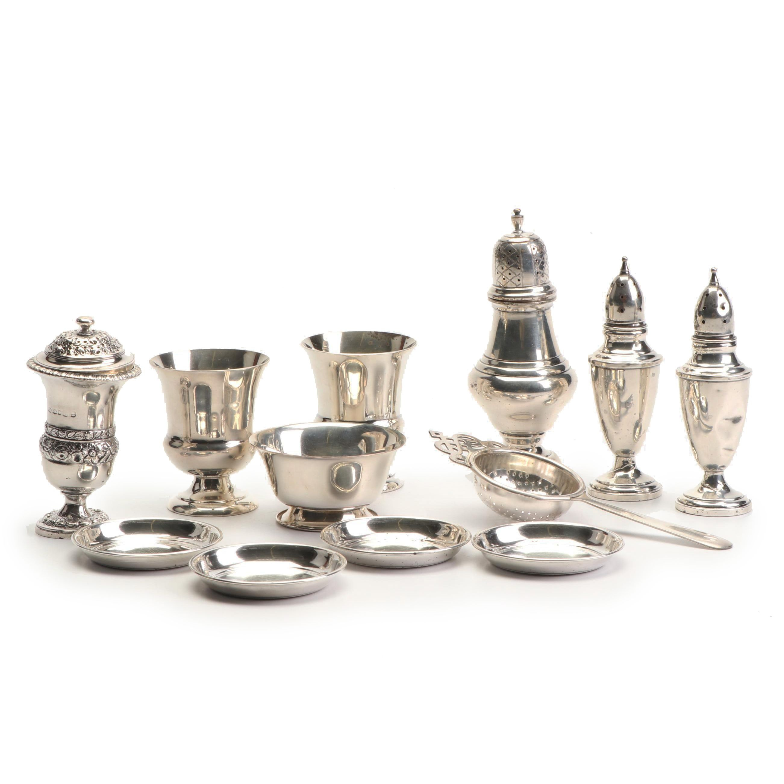 Thomas Wilkes Barker Sterling Muffineer with Other Sterling Tableware