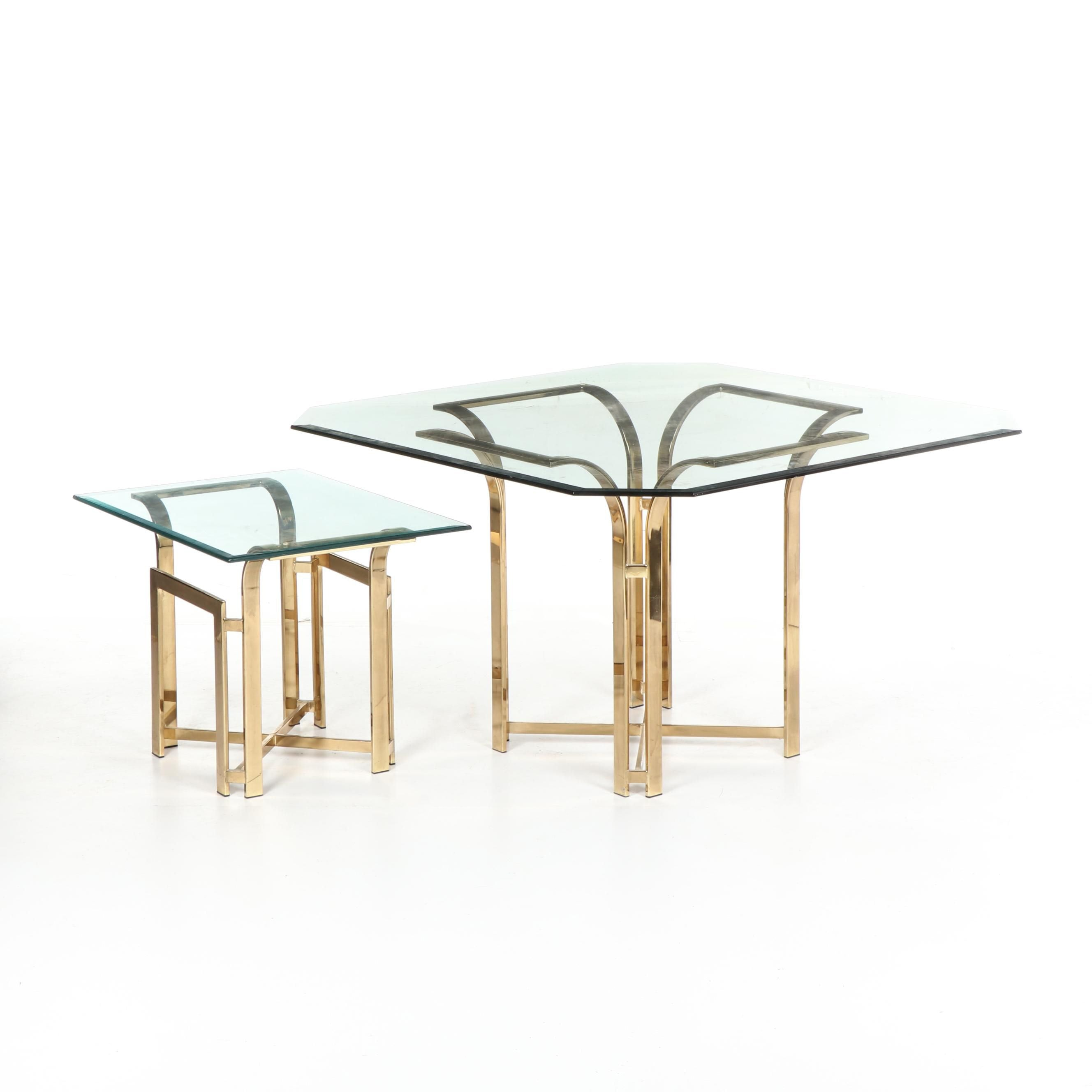 Hollywood Regency Style Glass Top Dining Table and Side Table, Late 20th Century