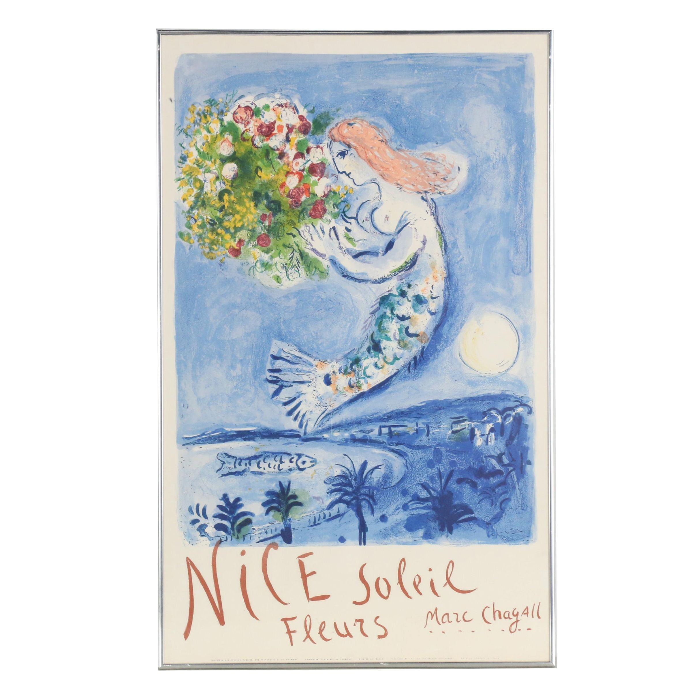 "Marc Chagall 1961 Lithograph Poster ""Nice Soleil Fleurs"""