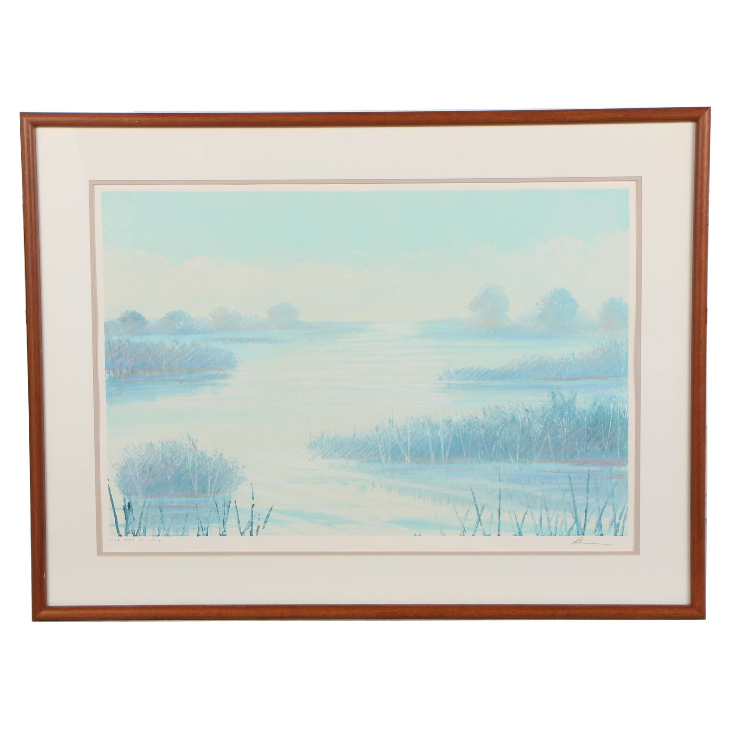 "Late 20th Century Embellished Relief Print ""Dusk Across the Water"""