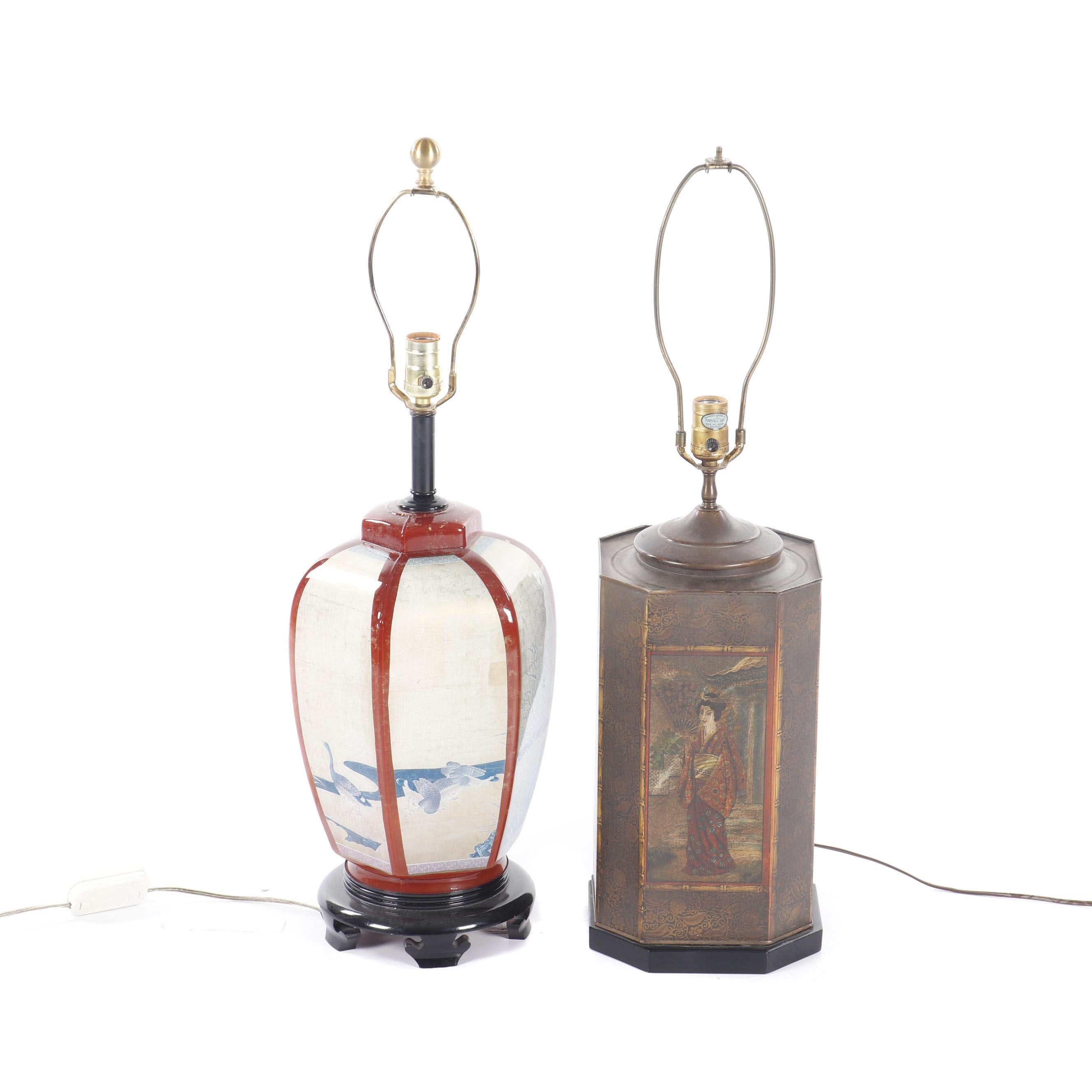 Asian Inspired Metal and Resin Table Lamps Featuring Chapman Portrait Lamp
