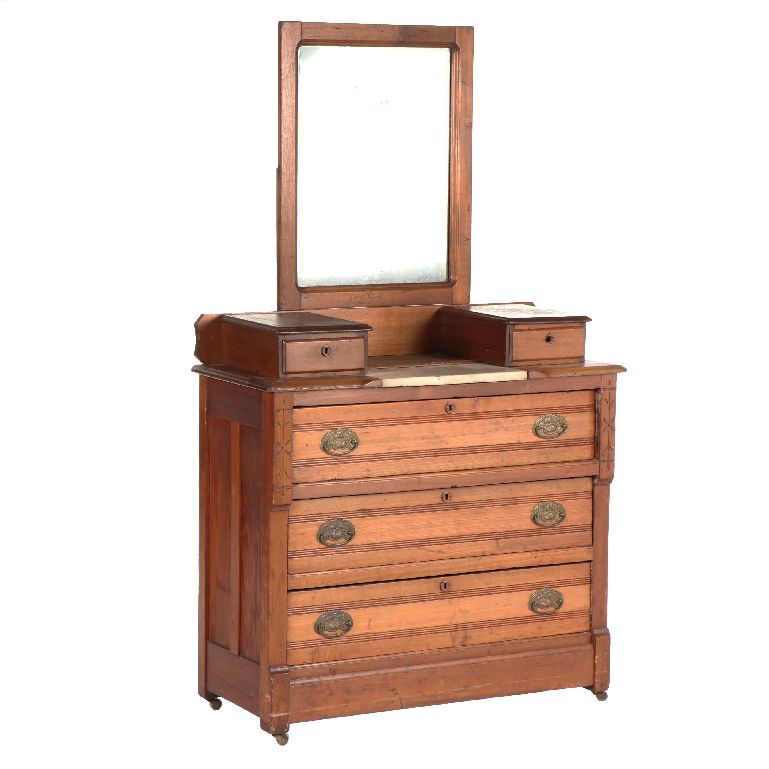 Eastlake Walnut Five-Drawer Dresser with Mirror on Casters, Late 19th Century