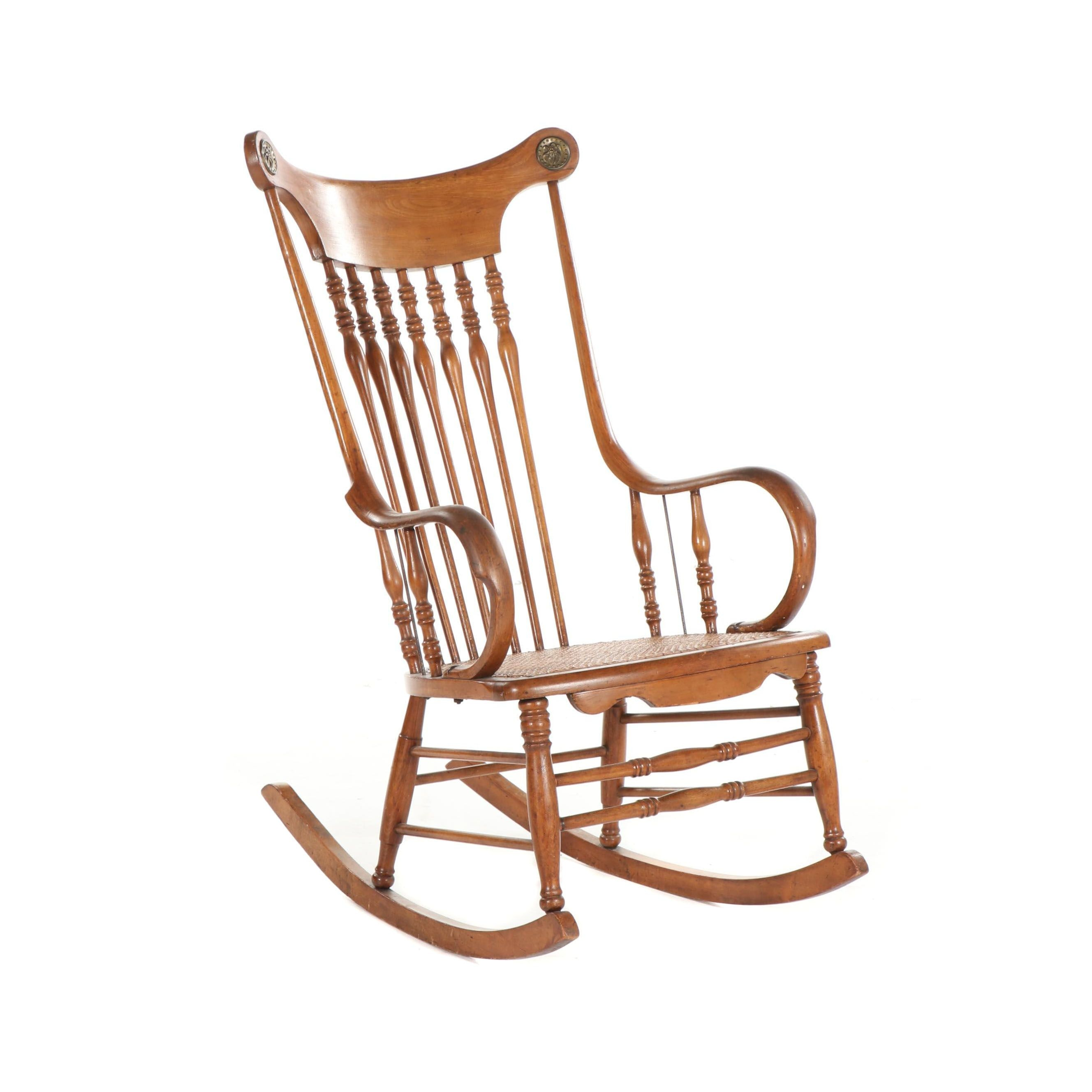 Walnut Frame Rocking Chair with Caned Seat and Brass Embellishments, Late 20th C