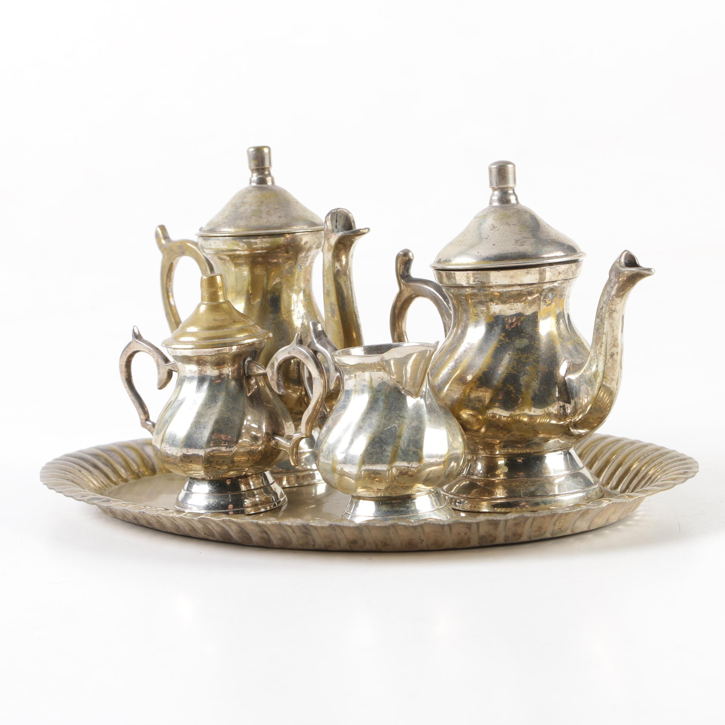 Silver-Plated Brass Miniature Tea and Coffee Service Set