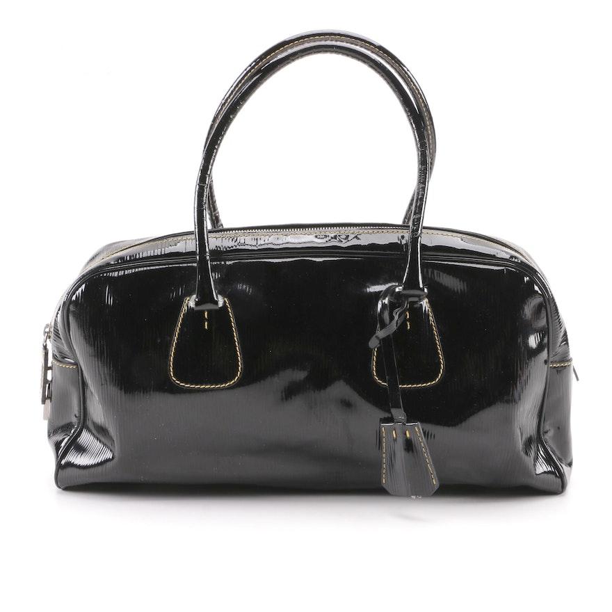 2ad275630dd2 Prada Black Textured Patent Leather Satchel : EBTH