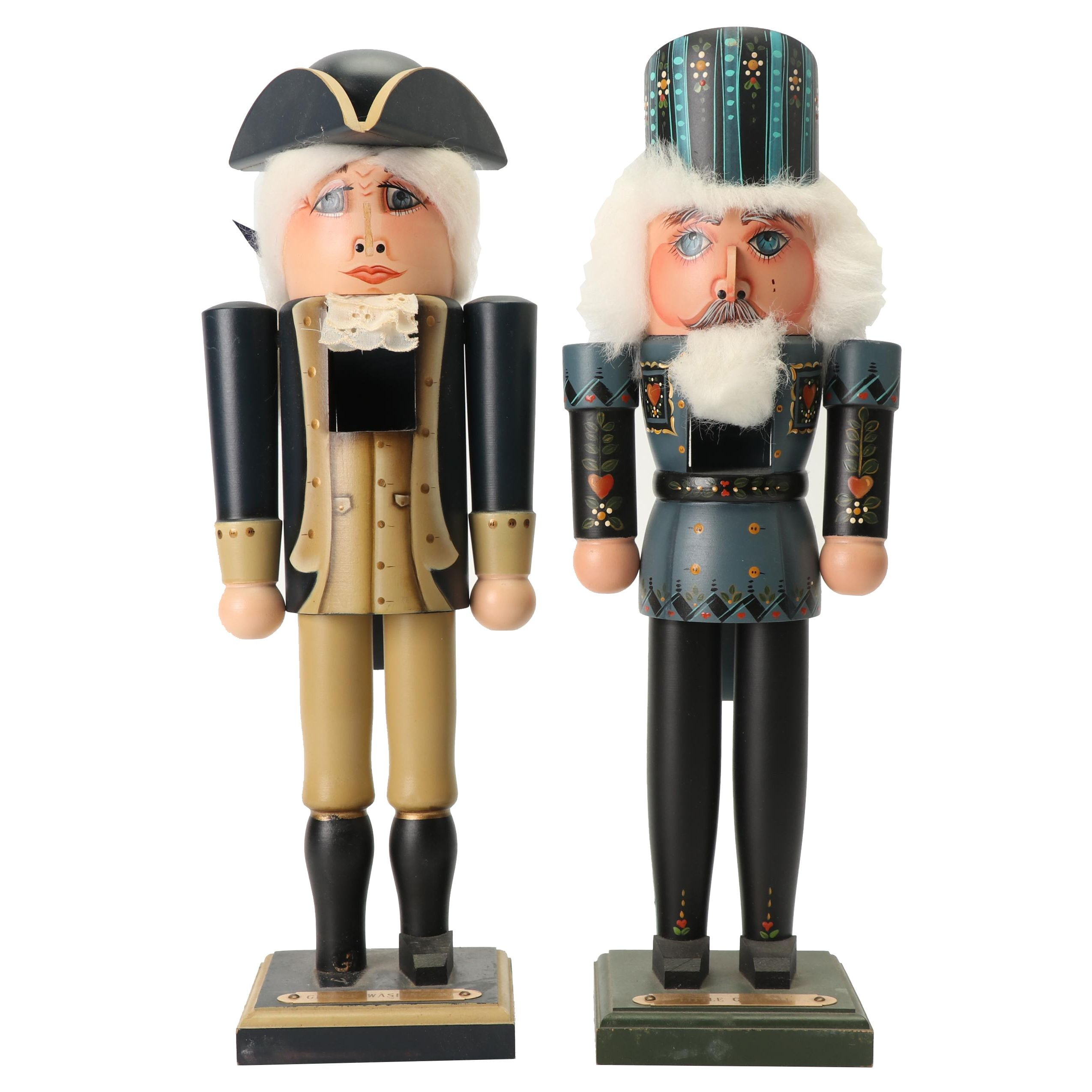 """Susan Milford Hand-Painted Nutcrackers, """"George Washington"""" and """"Little General"""""""