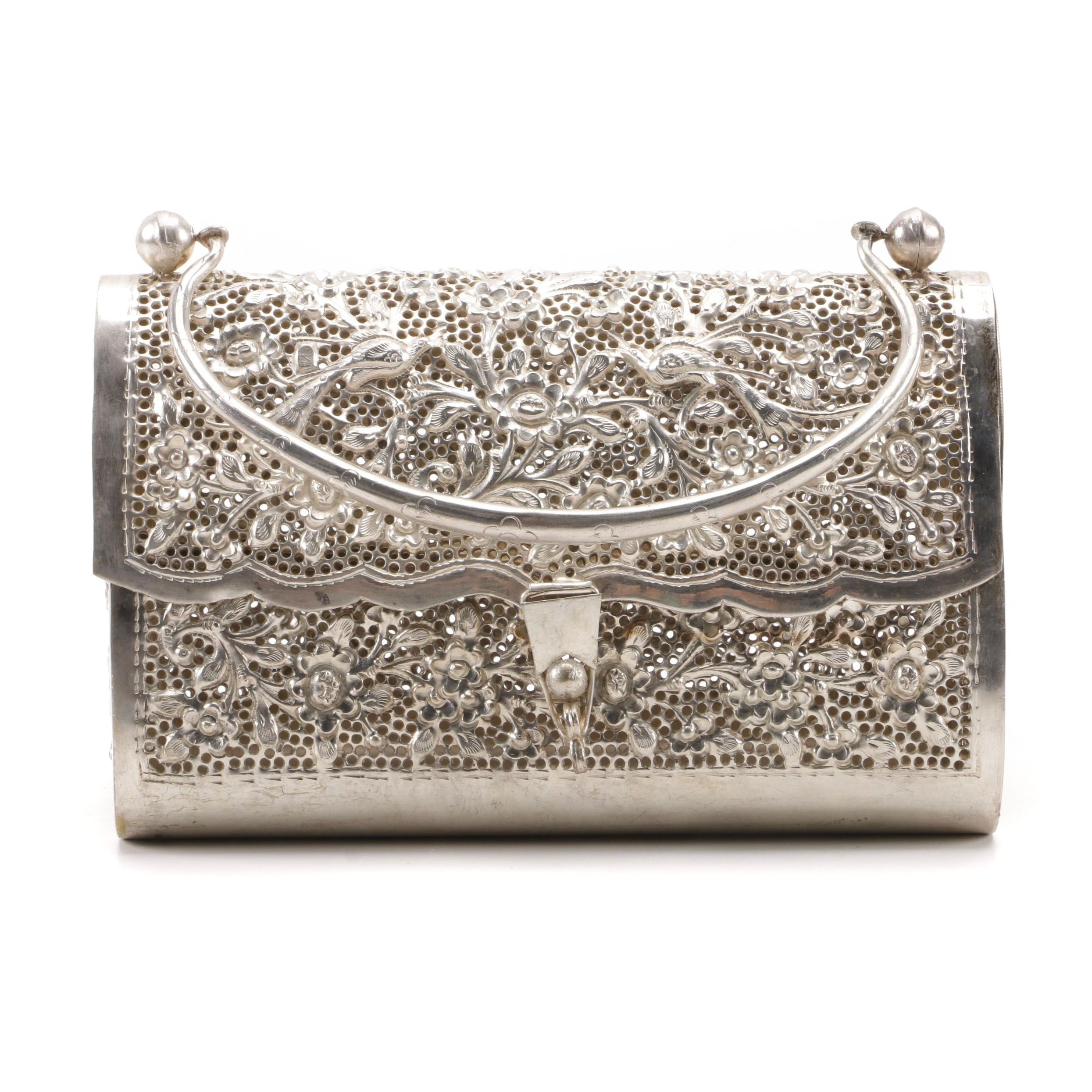 Floral Openwork Metal Hinged Handbag