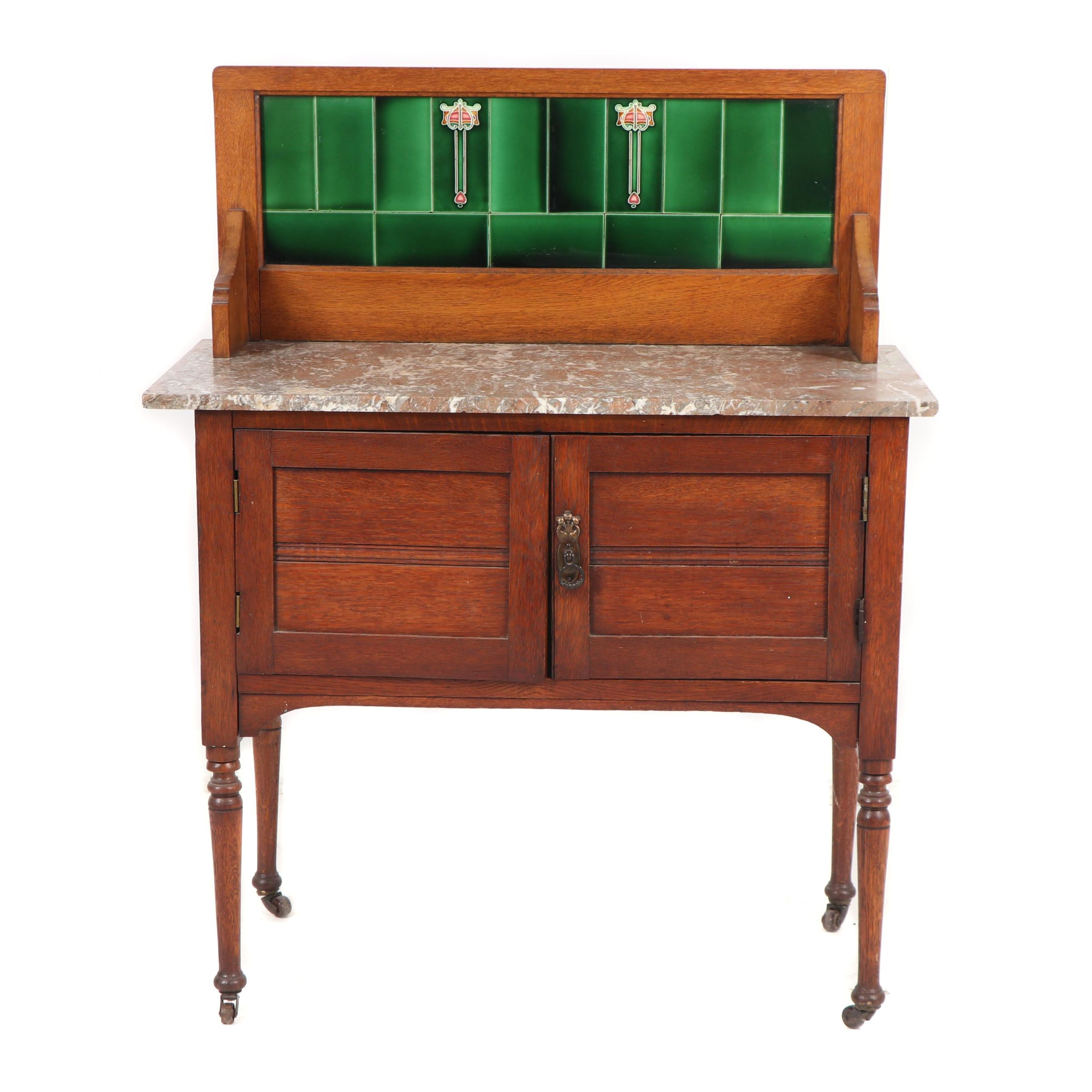 Late Victorian Oak Wash Stand with Tiled Backsplash, 19th/20th Century